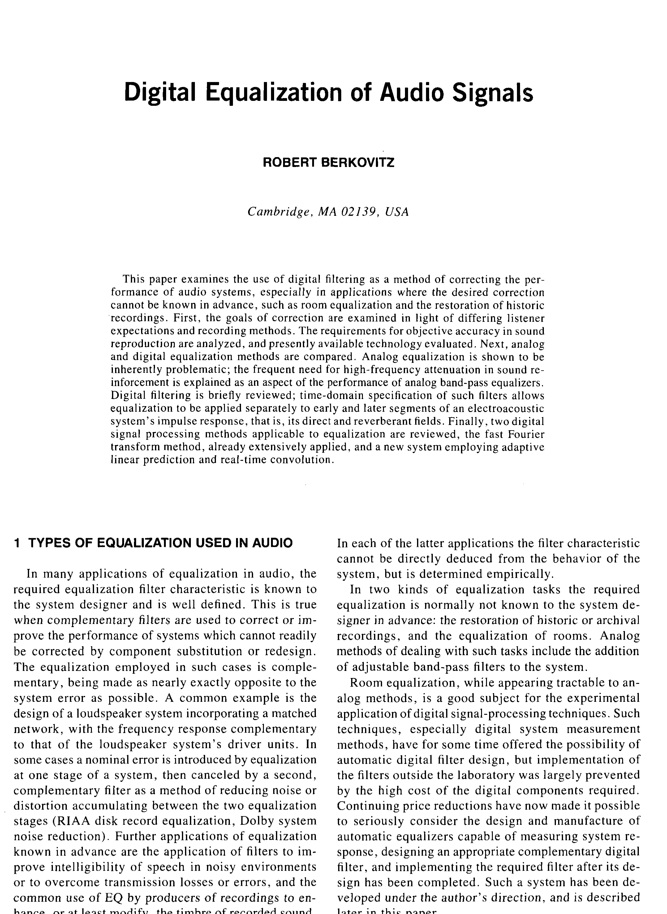 Aes E Library Digital Equalization Of Audio Signals