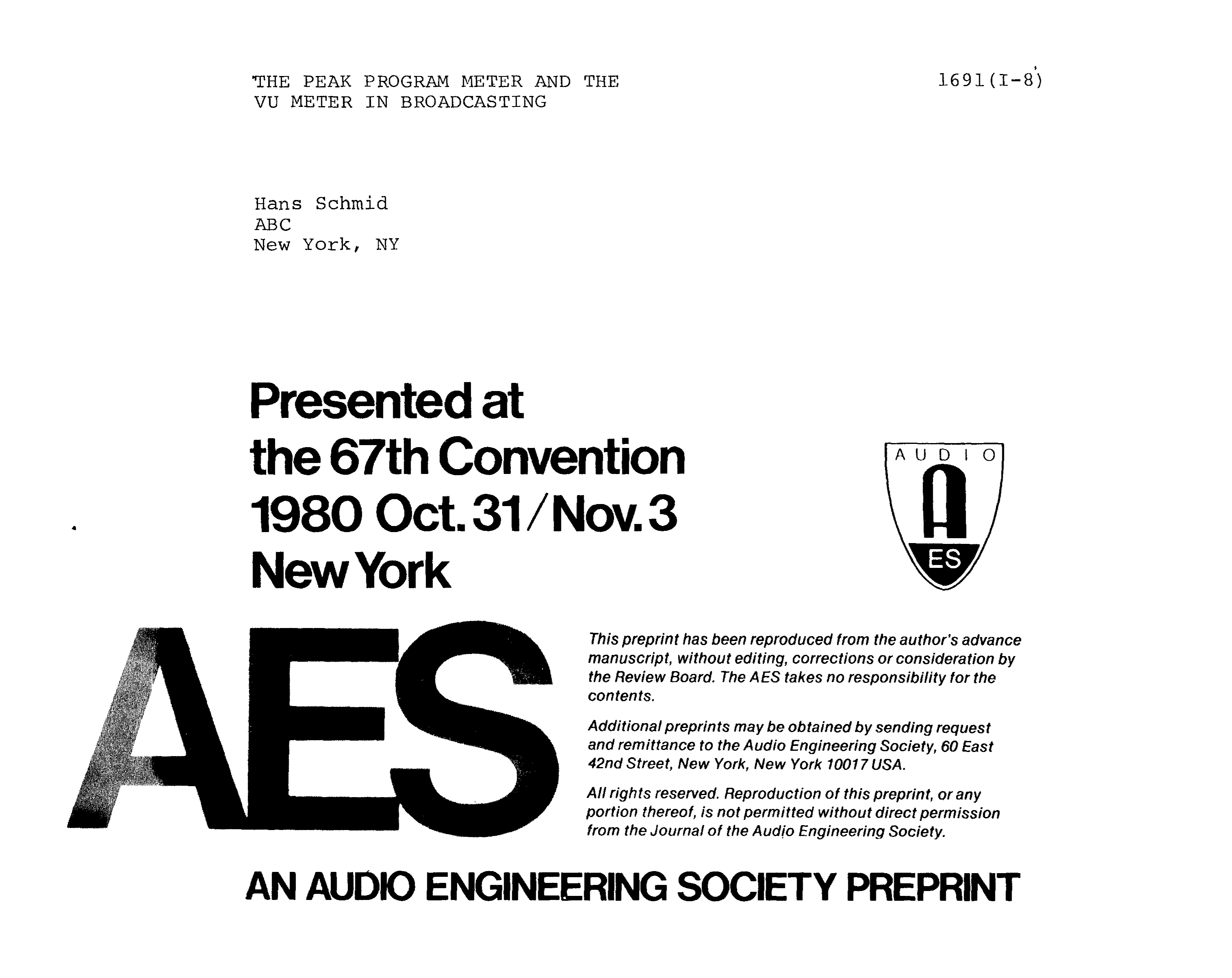 Aes E Library The Peak Program Meter And Vu In Broadcasting 3