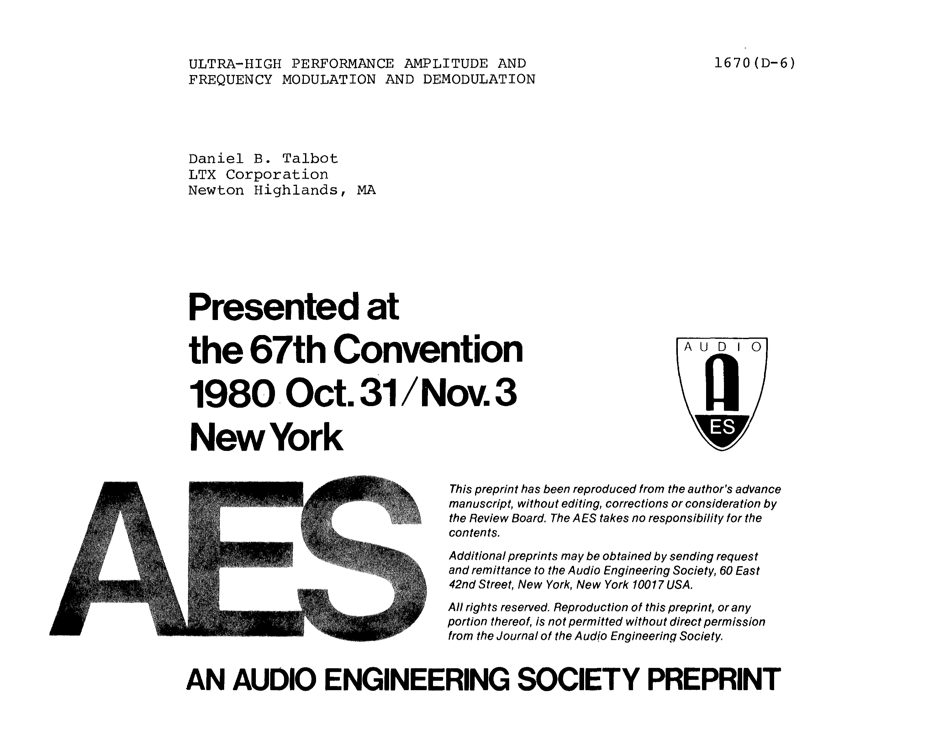 Aes E Library Ultra High Performance Amplitude And Frequency Quadrature Fm Demodulator Circuit Modulation Demodulation