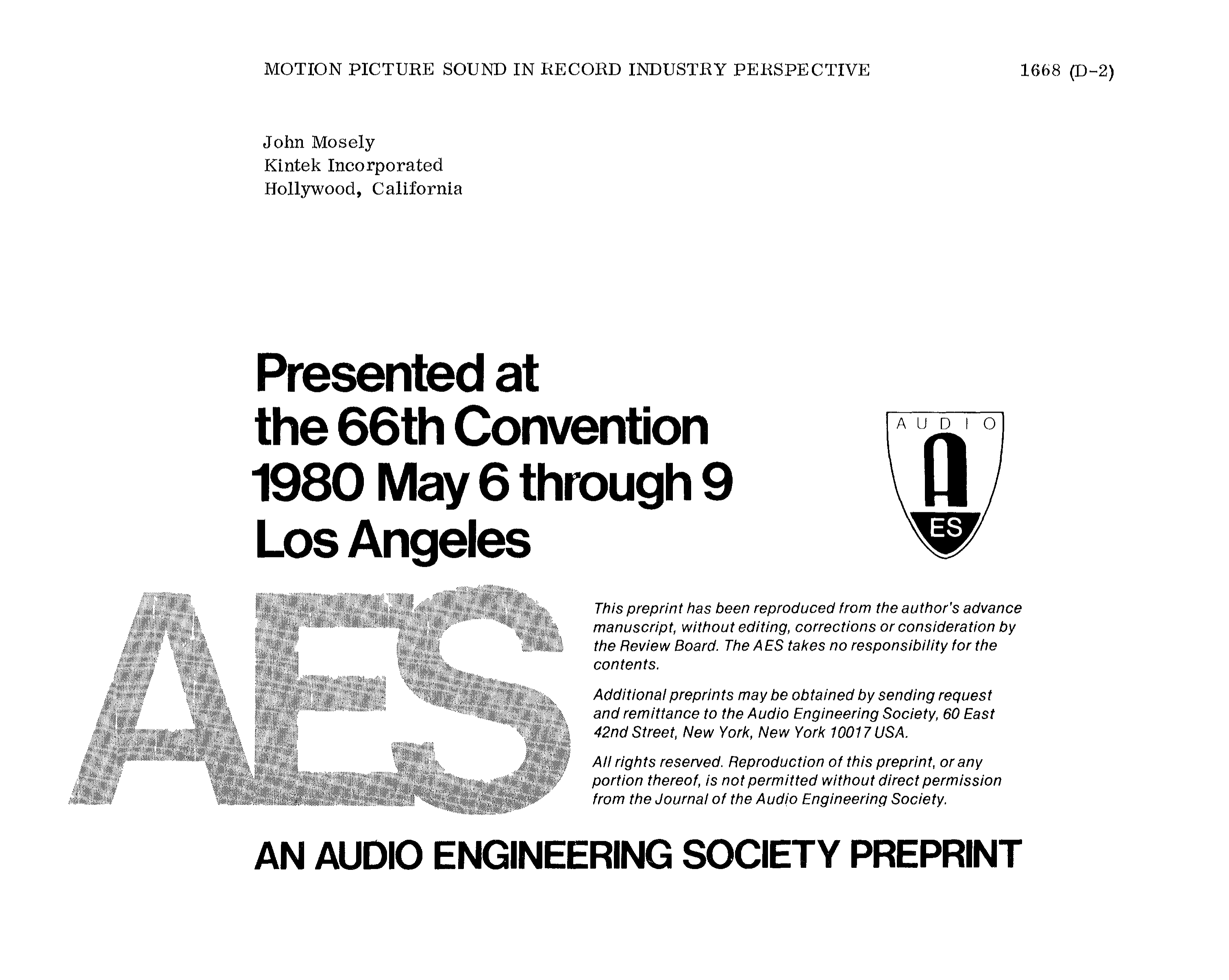 Aes E Library Motion Picture Sound In Record Industry Perspective Post Back With Questions Obviously Since Your Wiring Has Been Altered