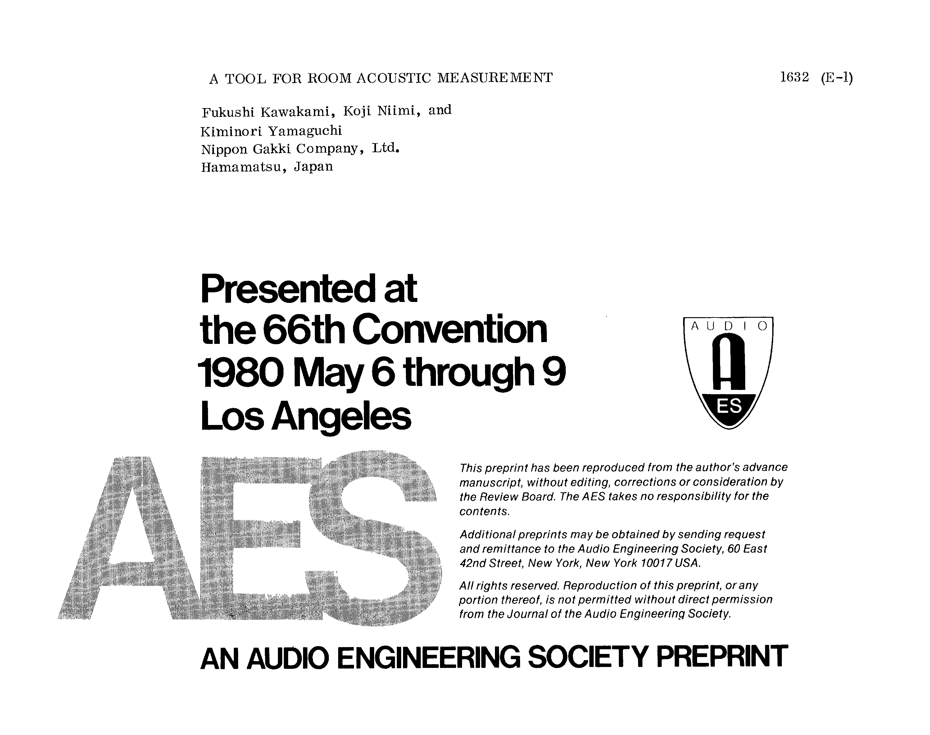 AES E-Library » A Tool for Room Acoustic Measurement