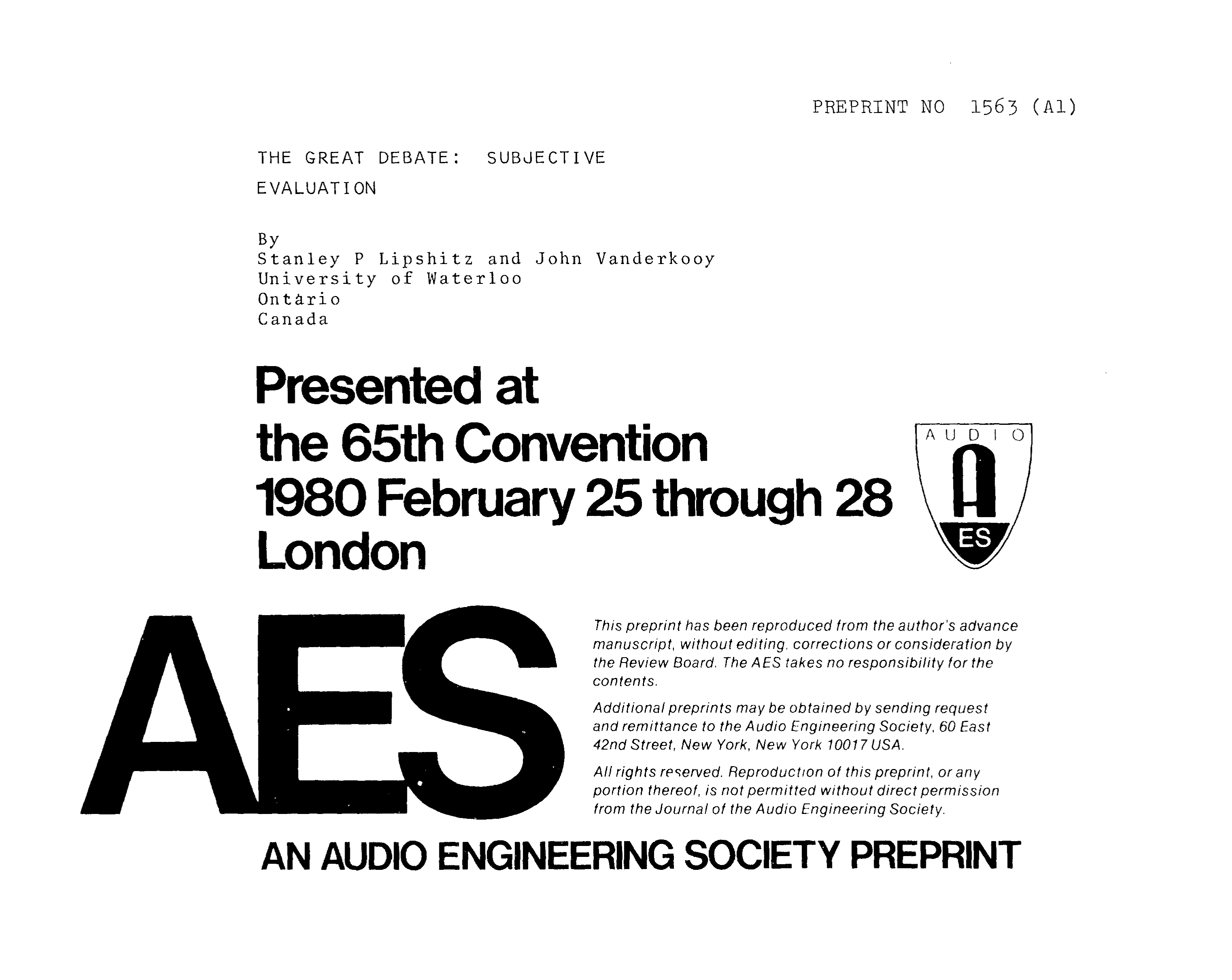 Aes E Library The Great Debate Subjective Evaluation Connected To Potentiometric Circuit As A Null Detector Switch