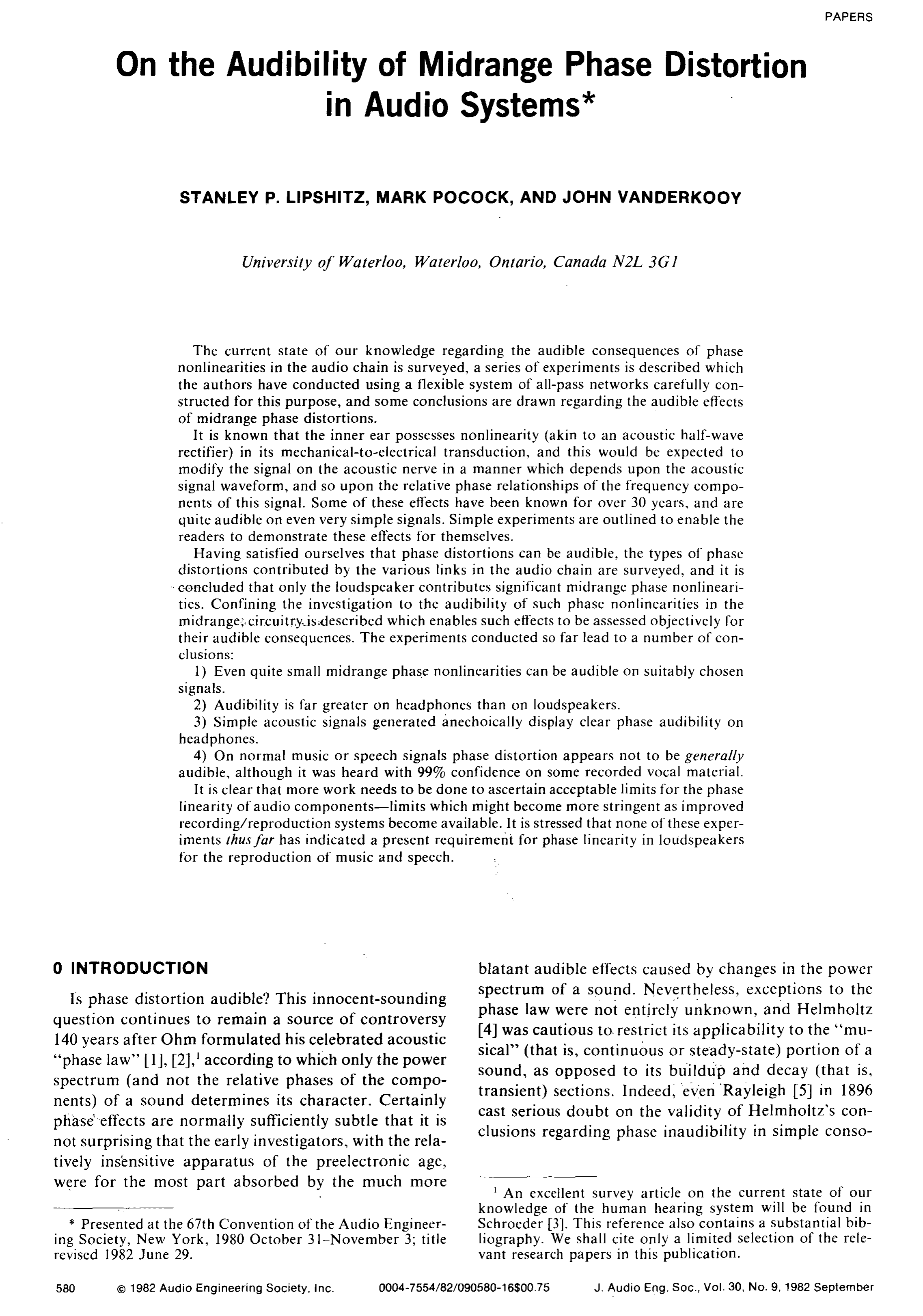 Aes E Library On The Audibility Of Midrange Phase Distortion In Audio Indicator By 741 Systems