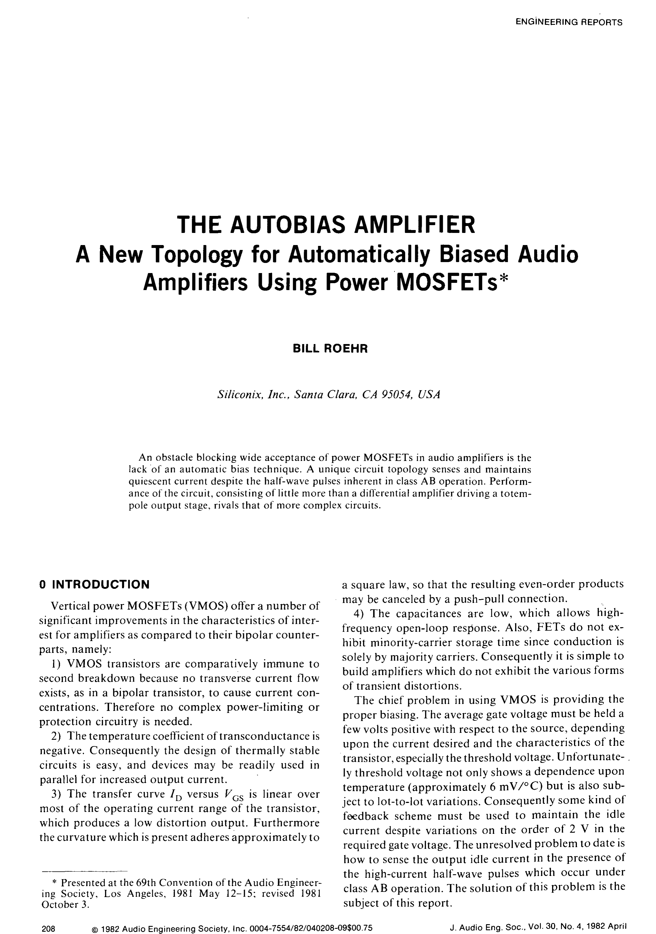 Aes E Library The Autobias Amplifier A New Topology For 70 Watt Mosfet Audio Circuit Automatically Biased Amplifiers Using Power Mosfets