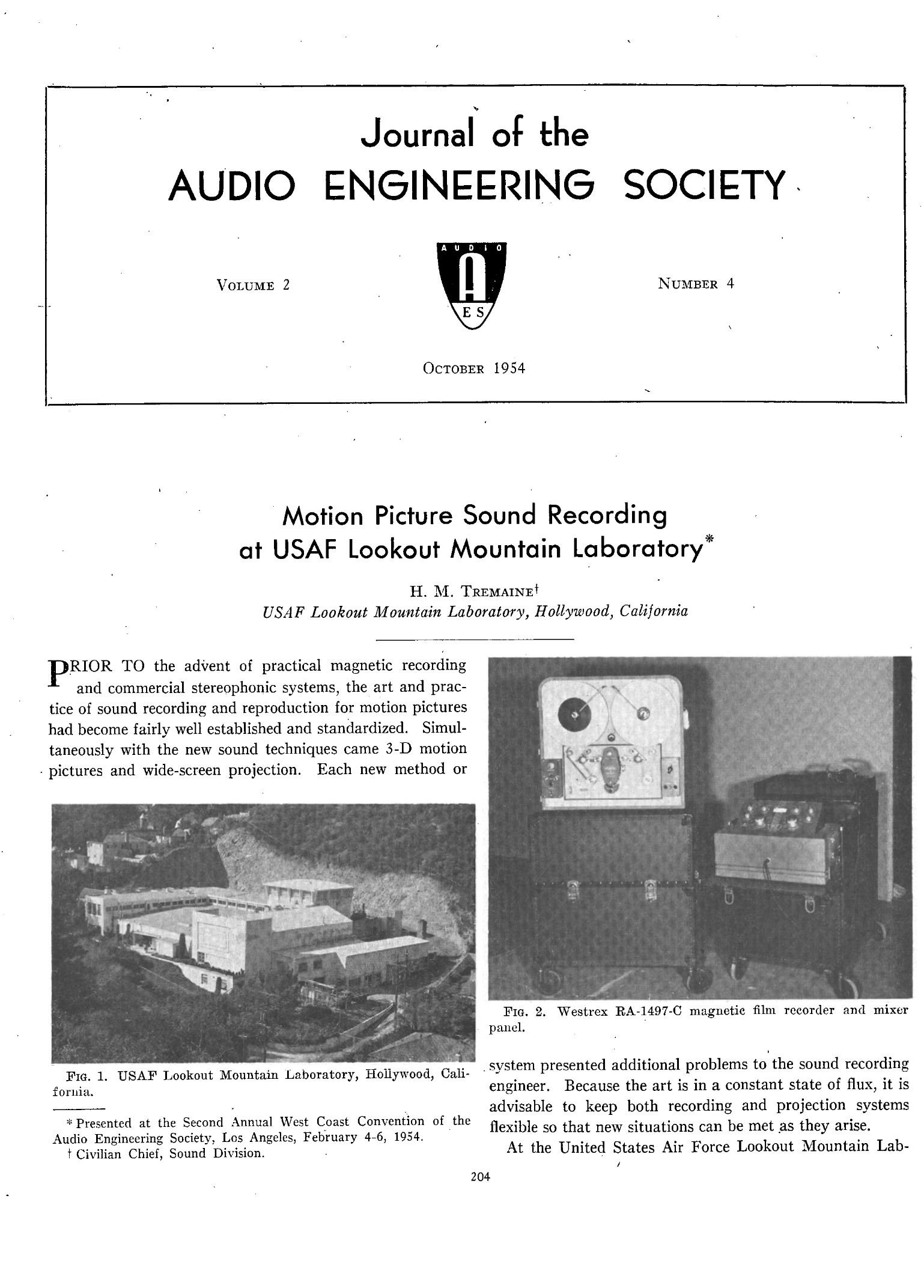 Aes E Library Motion Picture Sound Recording At Usaf Lookout Fig 2nd Simple Telephone Hybrid Circuit Mountain Laboratory