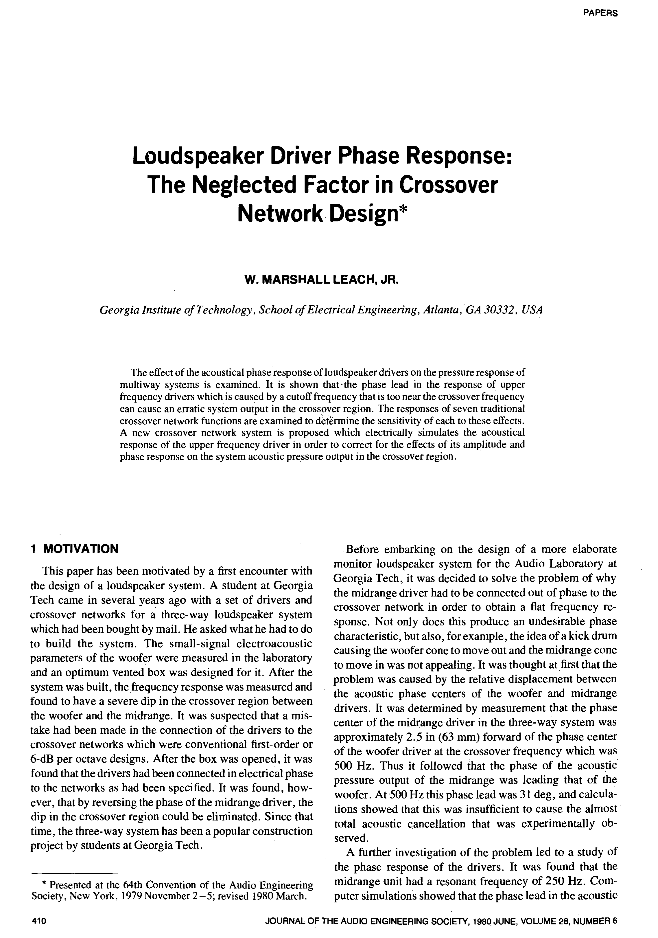 Aes E Library Loudspeaker Driver Phase Response The Neglected 500hz Lowpass Unity Circuit Diagram Tradeoficcom Factor In Crossover Network Design