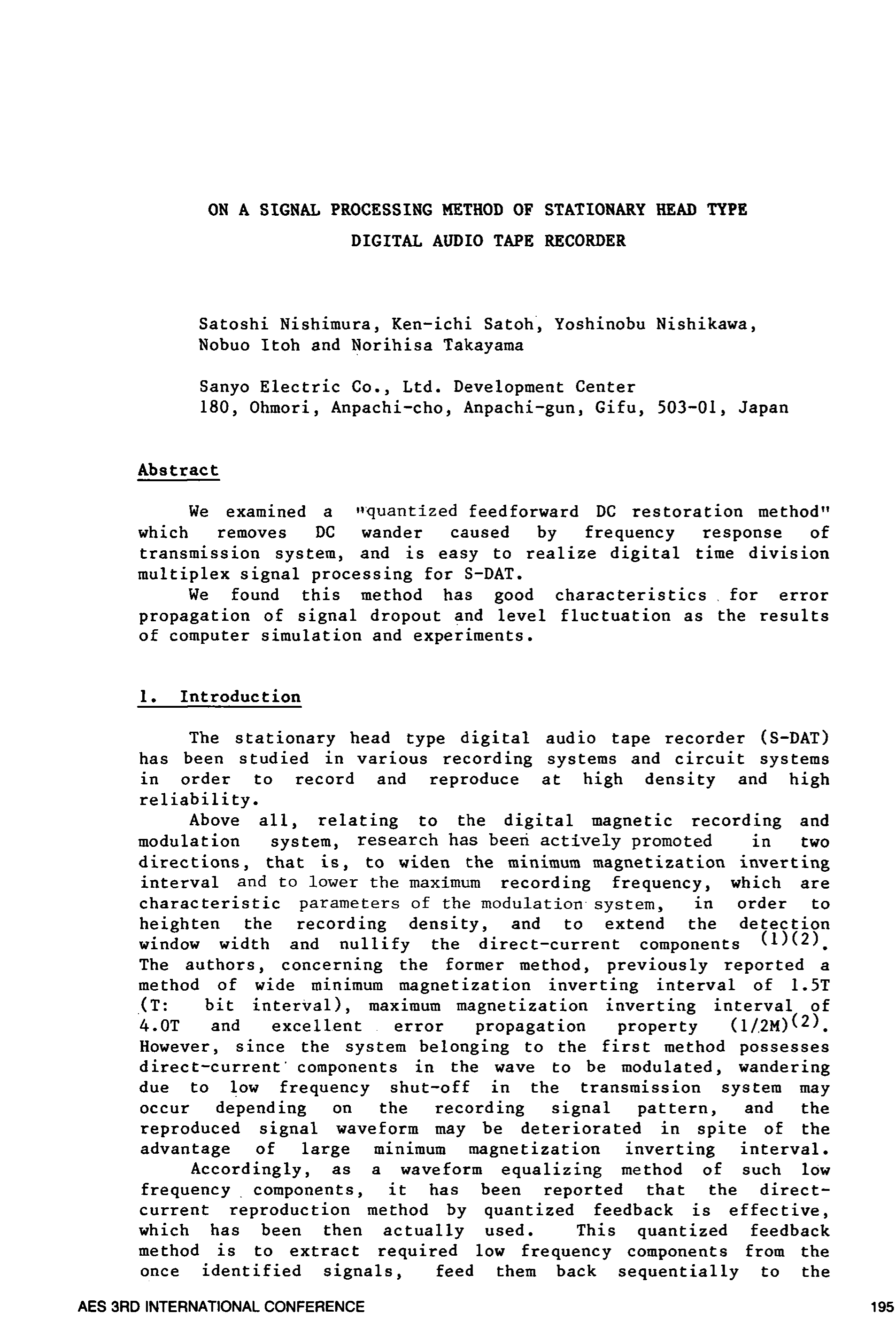 AES E-Library » On a Signal Processing Method of Stationary Head ...