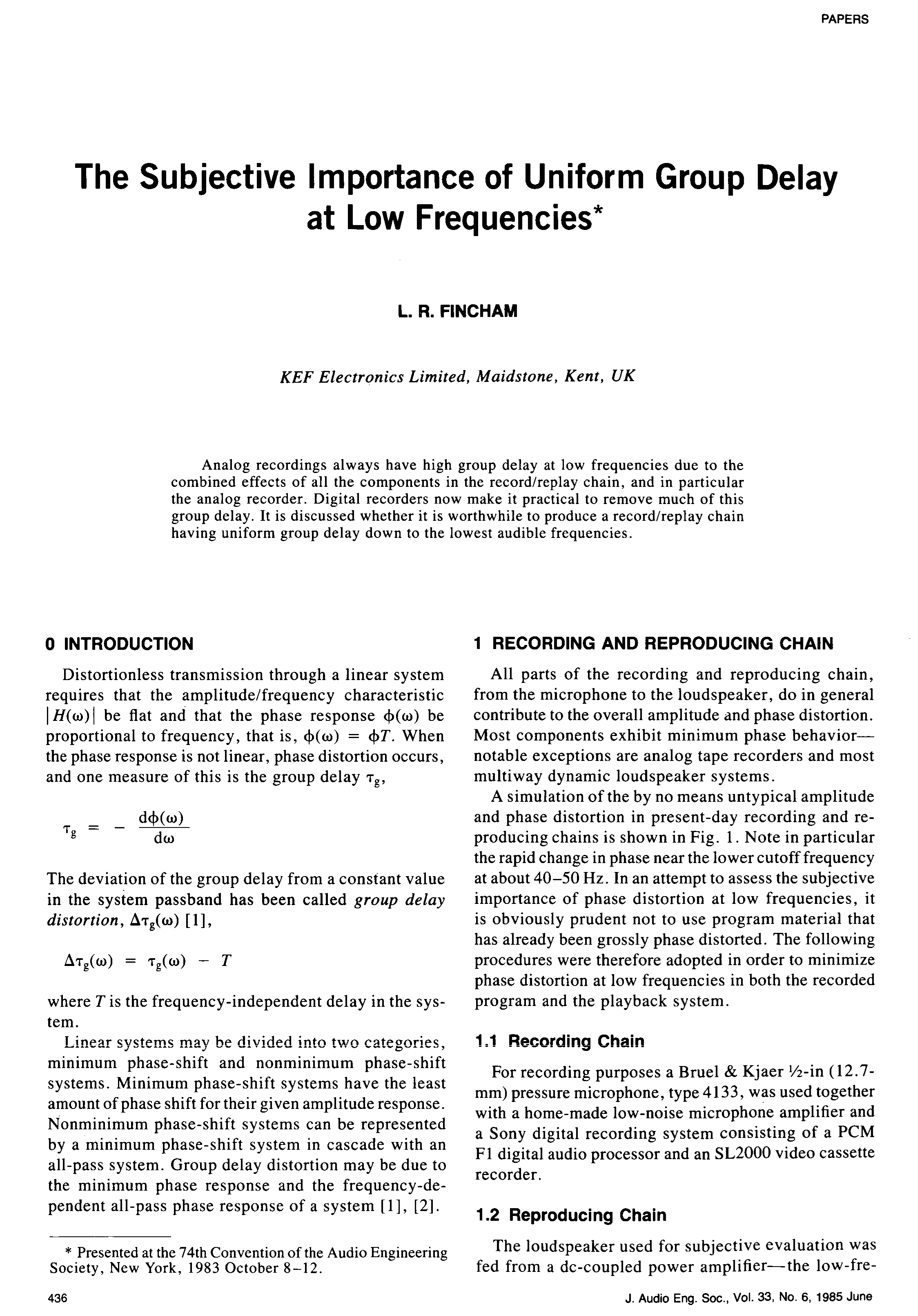 Aes E Library The Subjective Importance Of Uniform Group Delay At Dc Coupled Audio Amplifier Low Frequencies