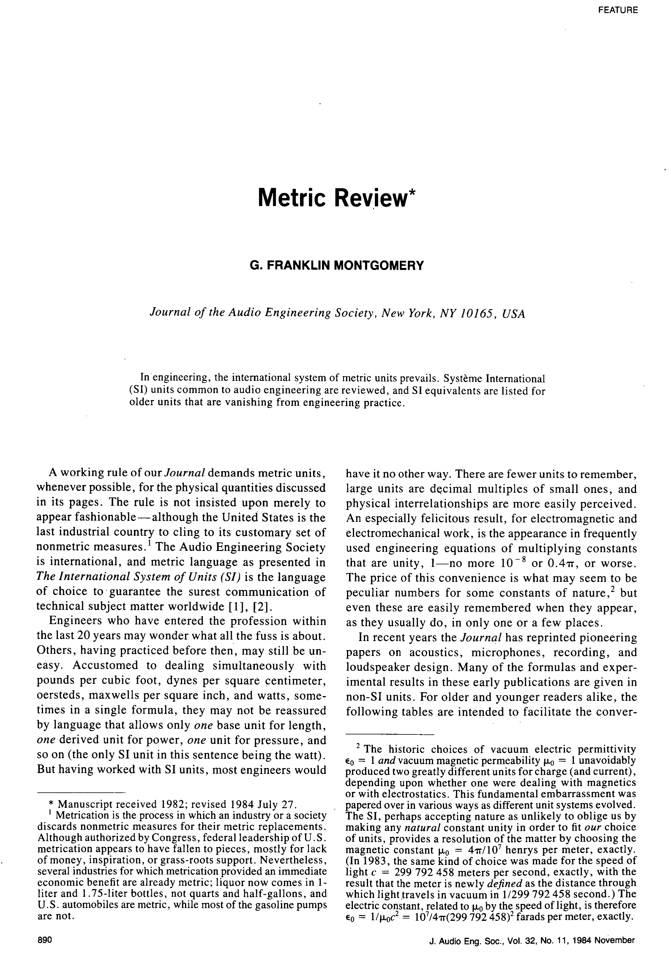 Aes E Library Metric Review
