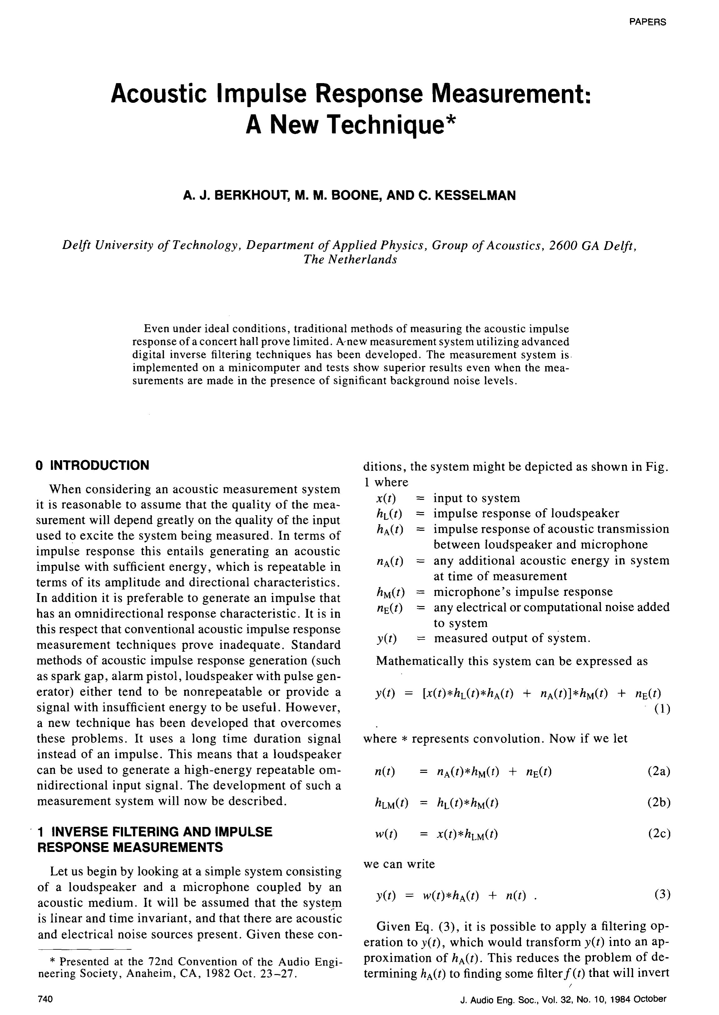 Aes e library acoustic impulse response measurement a new technique falaconquin
