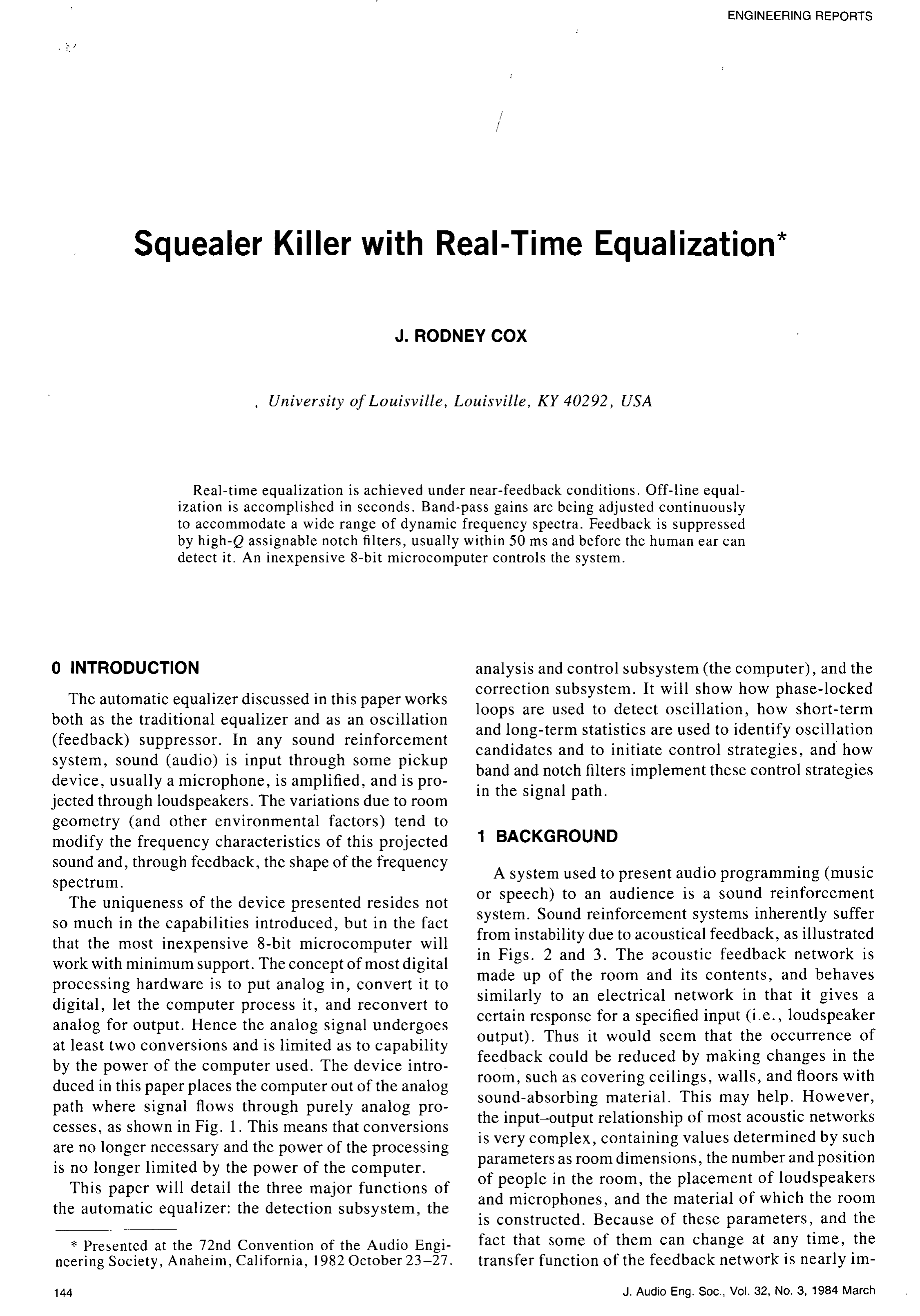 Aes E Library Squealer Killer With Real Time Equalization Fast Digital Lockin Amplifier For Dynamic Spectrum Extraction