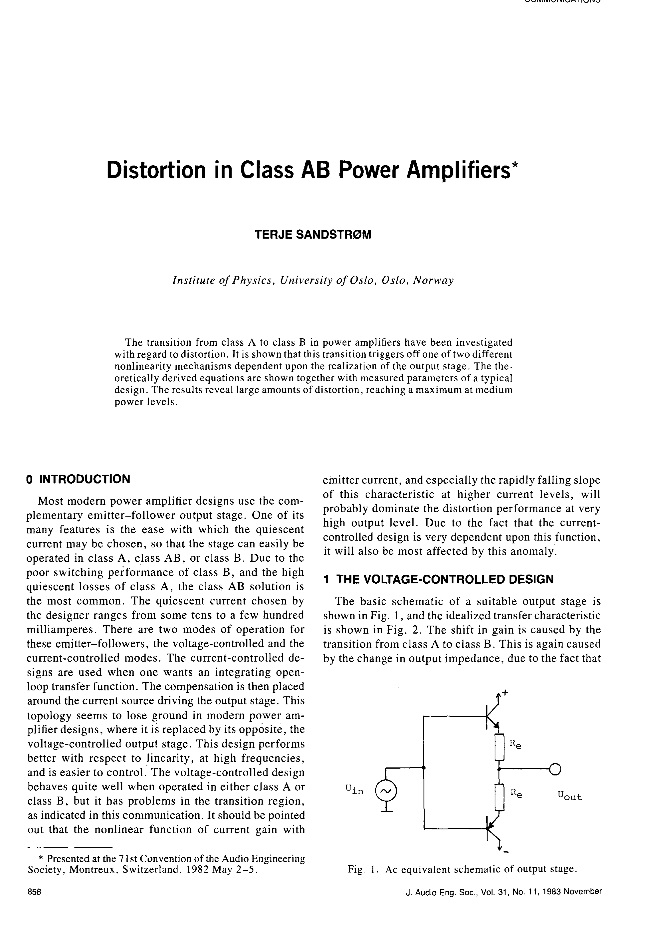 Aes E Library Distortion In Class Ab Power Amplifiers A