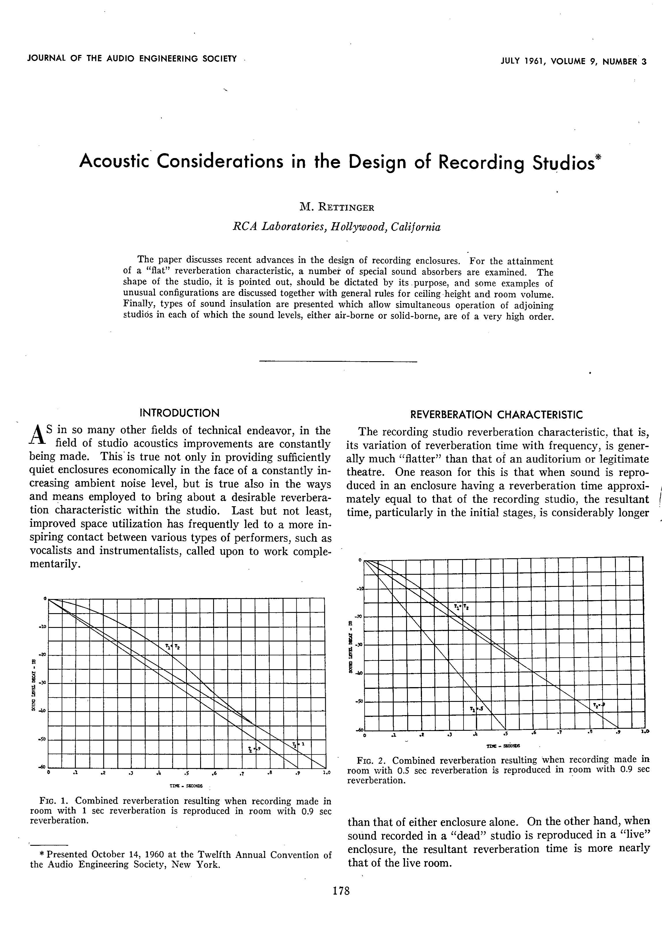 AES E Library Acoustic Considerations in the Design of Recording