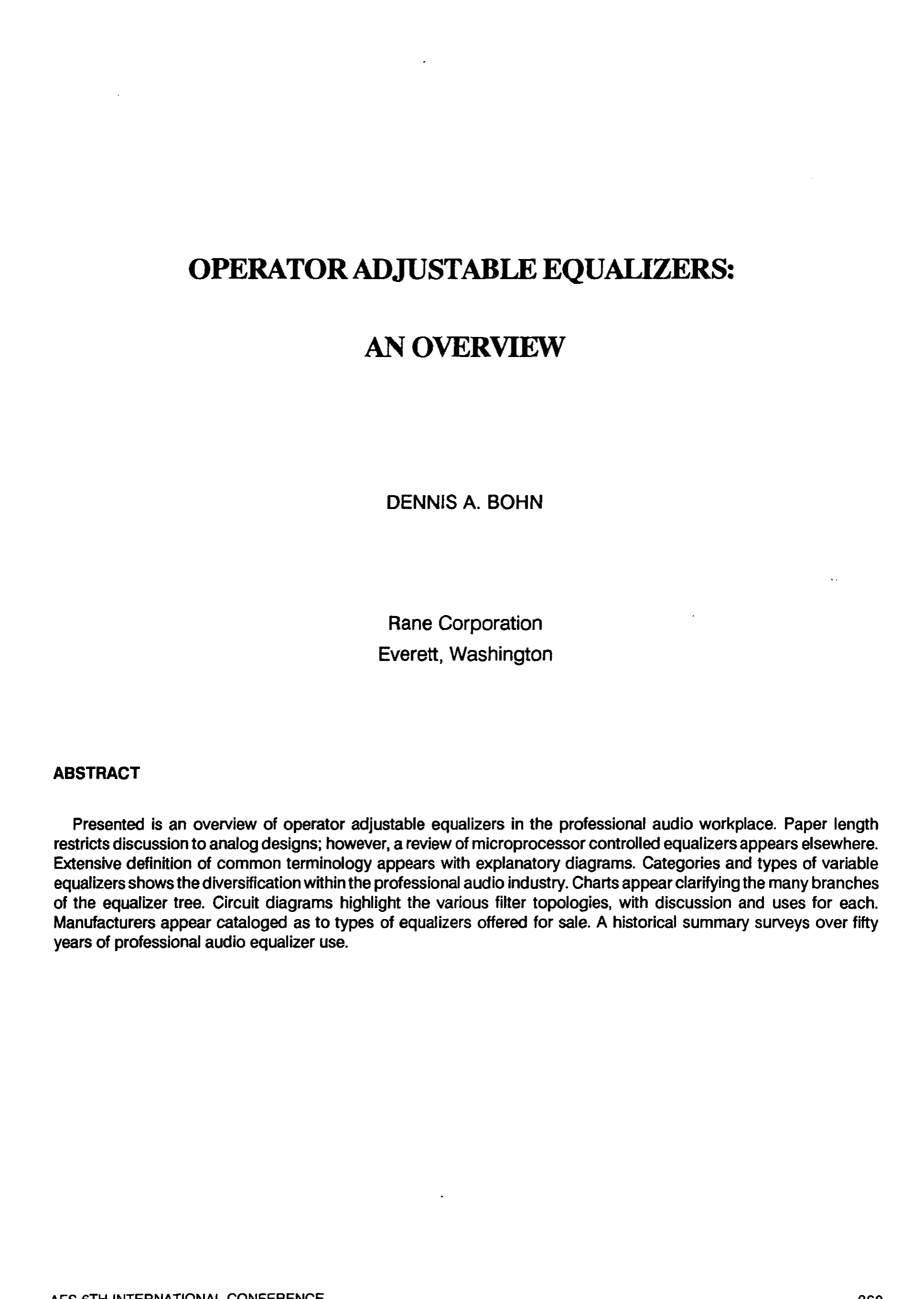 Aes E Library Operator Adjustable Equalizers An Overview Filter Uses Synthetic Inductor Components Content From Electronic
