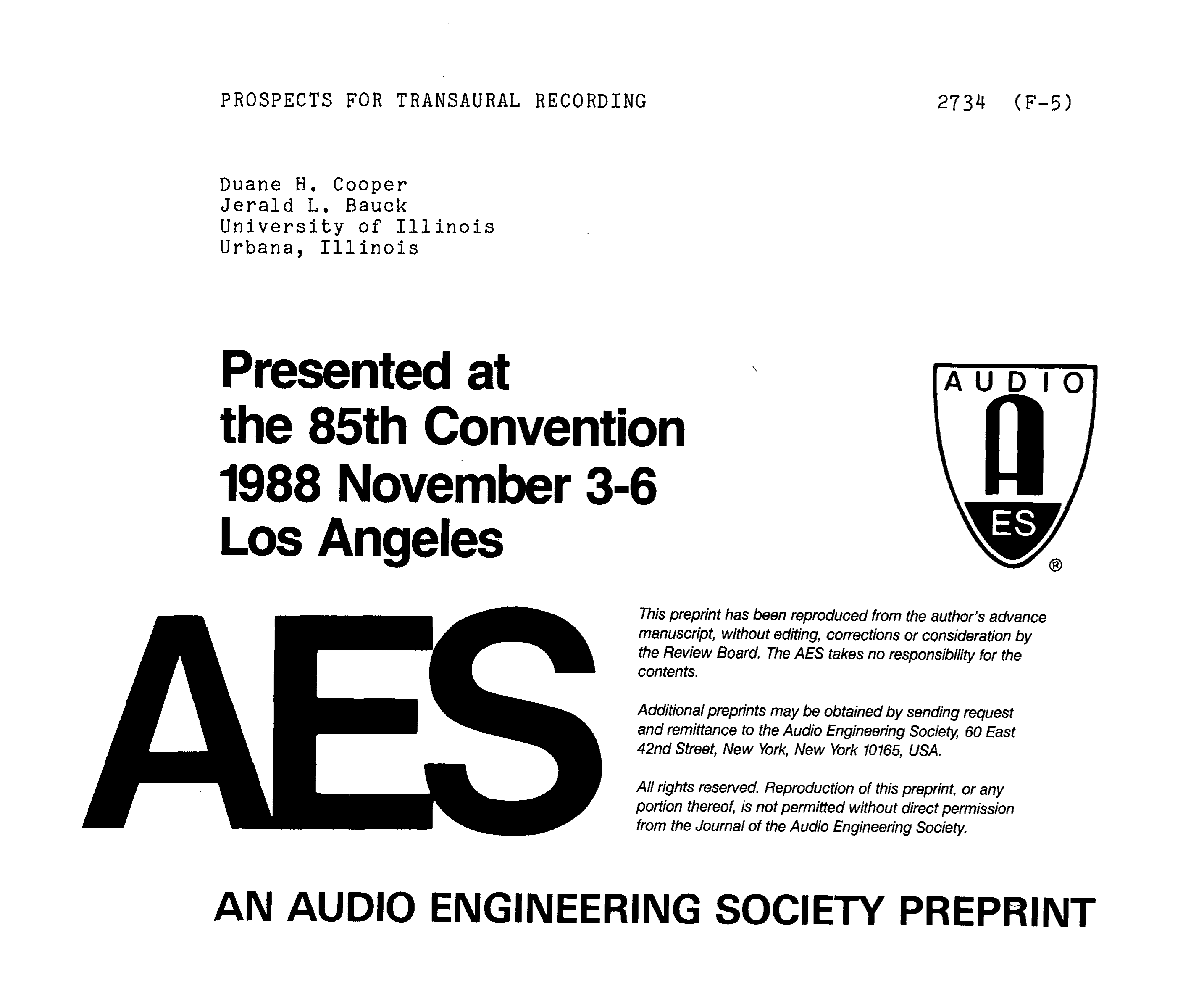 AES E-Library » Prospects for Transaural Recording