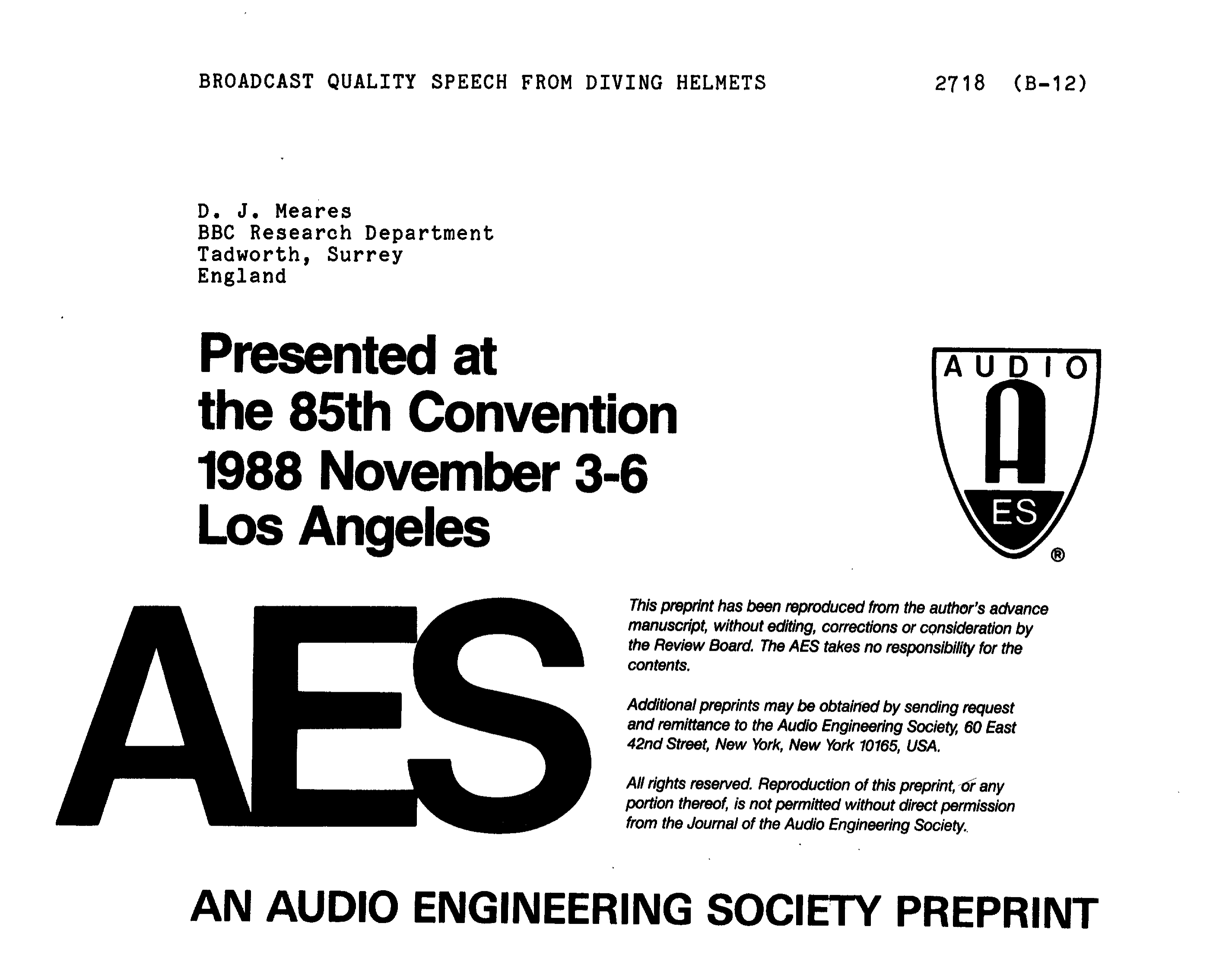 Aes E Library Broadcast Quality Speech From Diving Helmets Duplex Switch Wiring Diagram Variations