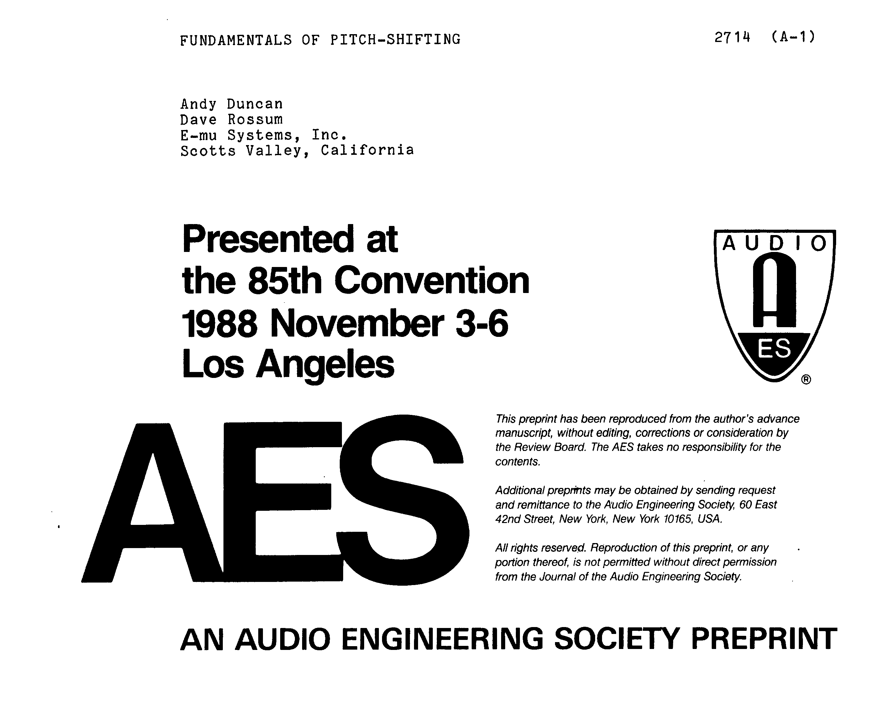AES E-Library » Fundamentals of Pitch-Shifting