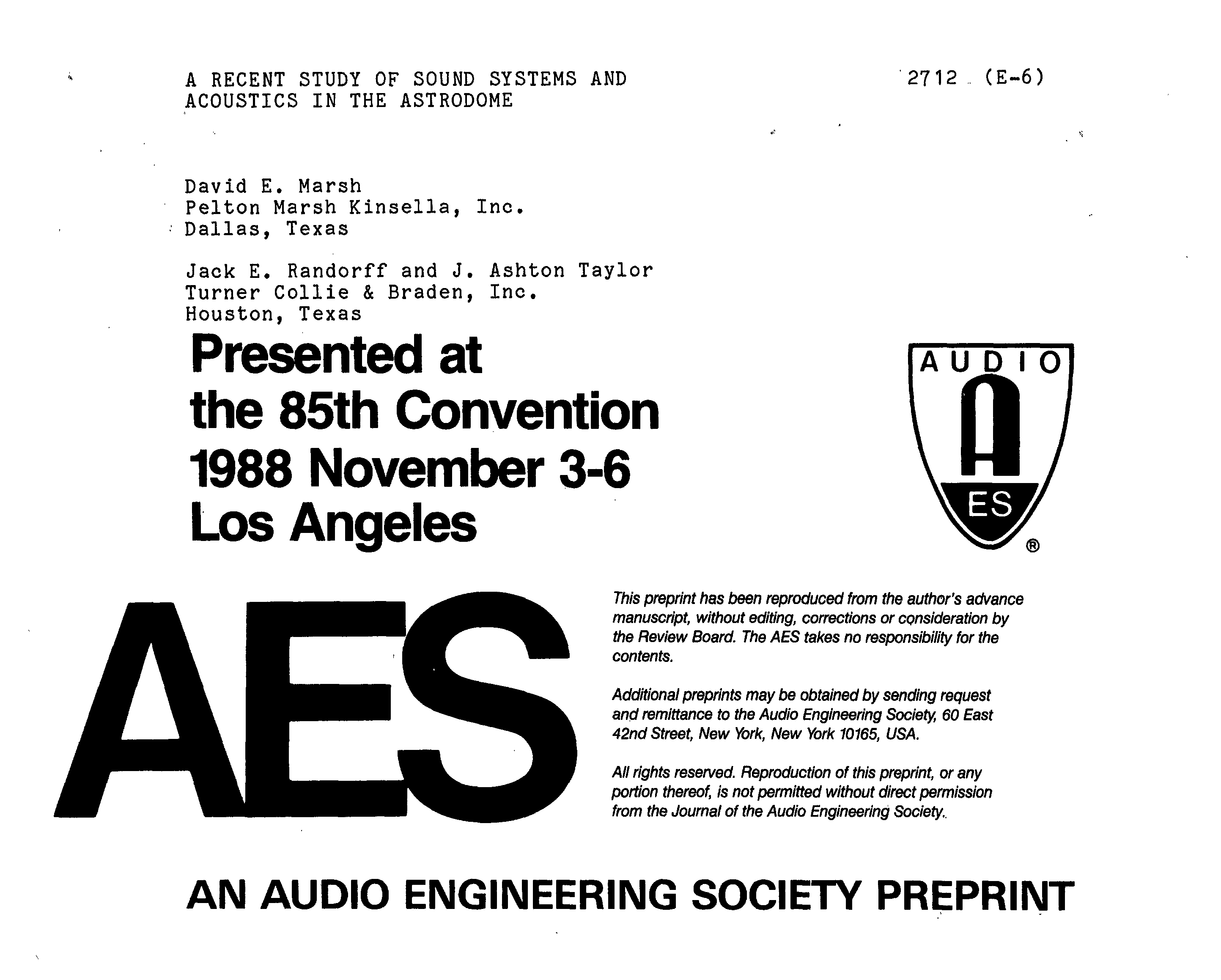 Aes E Library A Recent Study Of Sound Systems And Acoustics In The Xl Axis Rp 50000 Astrodome