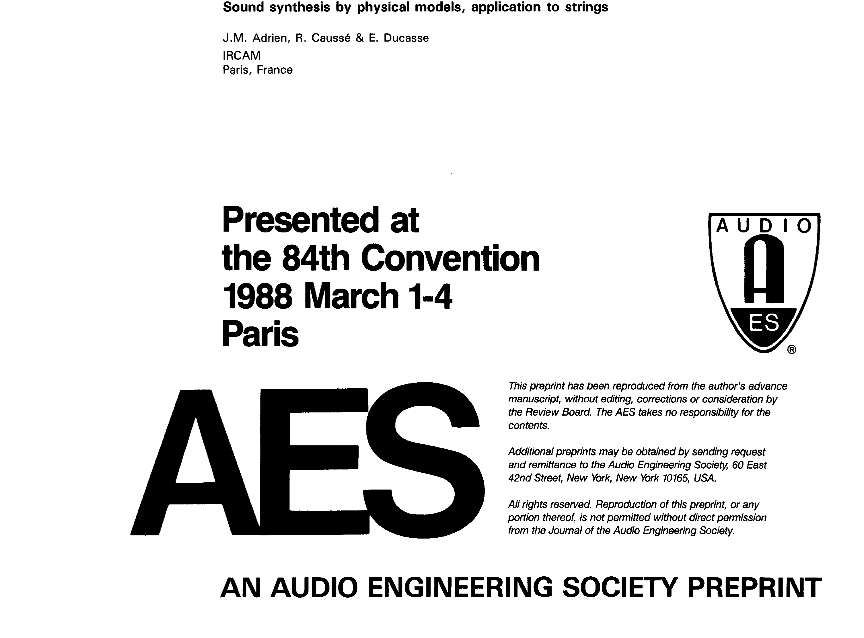 Aes E Library Sound Synthesis By Physical Models Application To Generator Circuit Audio Effects Wind Strings