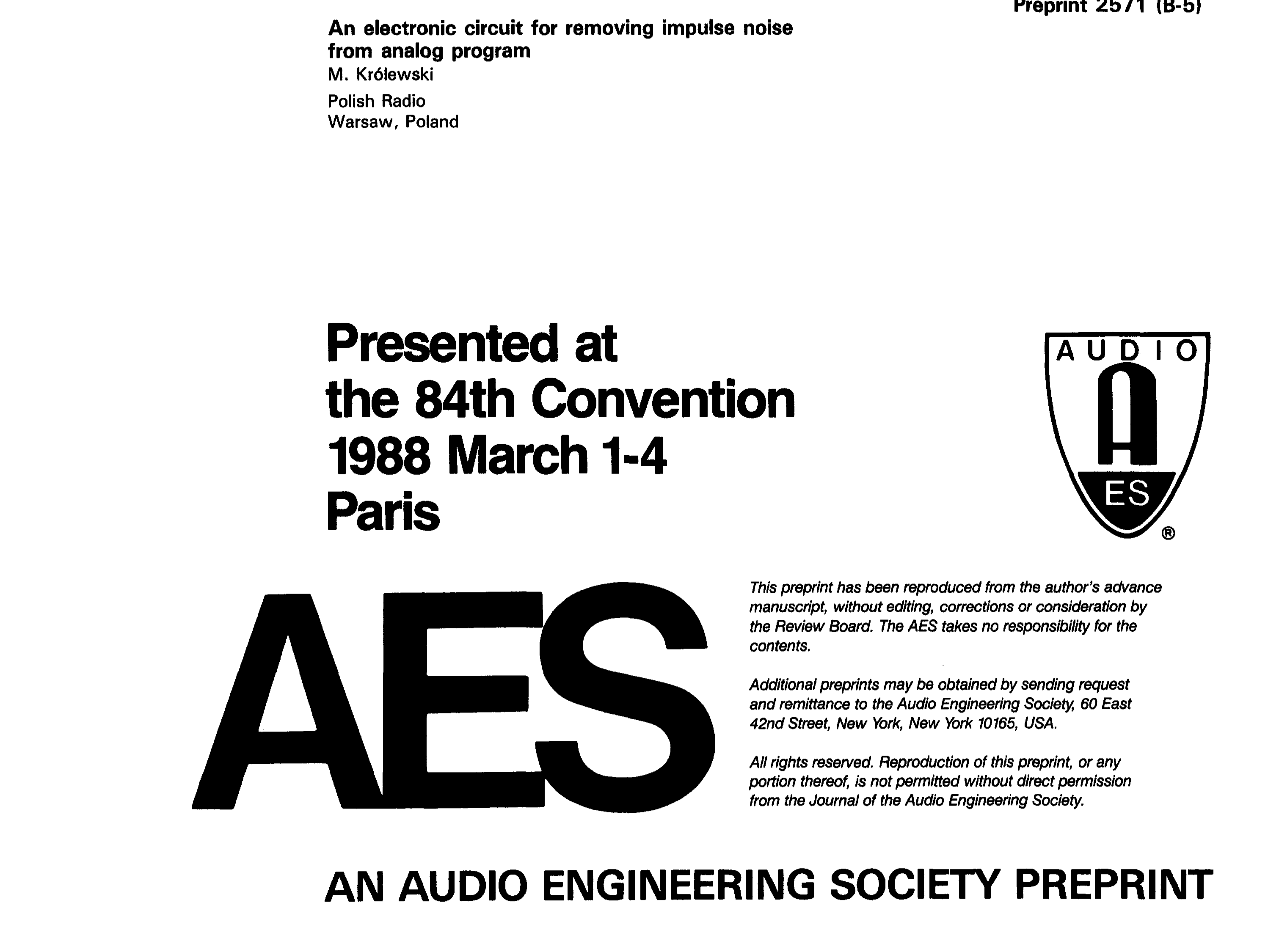 Aes E Library An Electronic Circuit For Removing Impulse Noise Journal From Analog Program