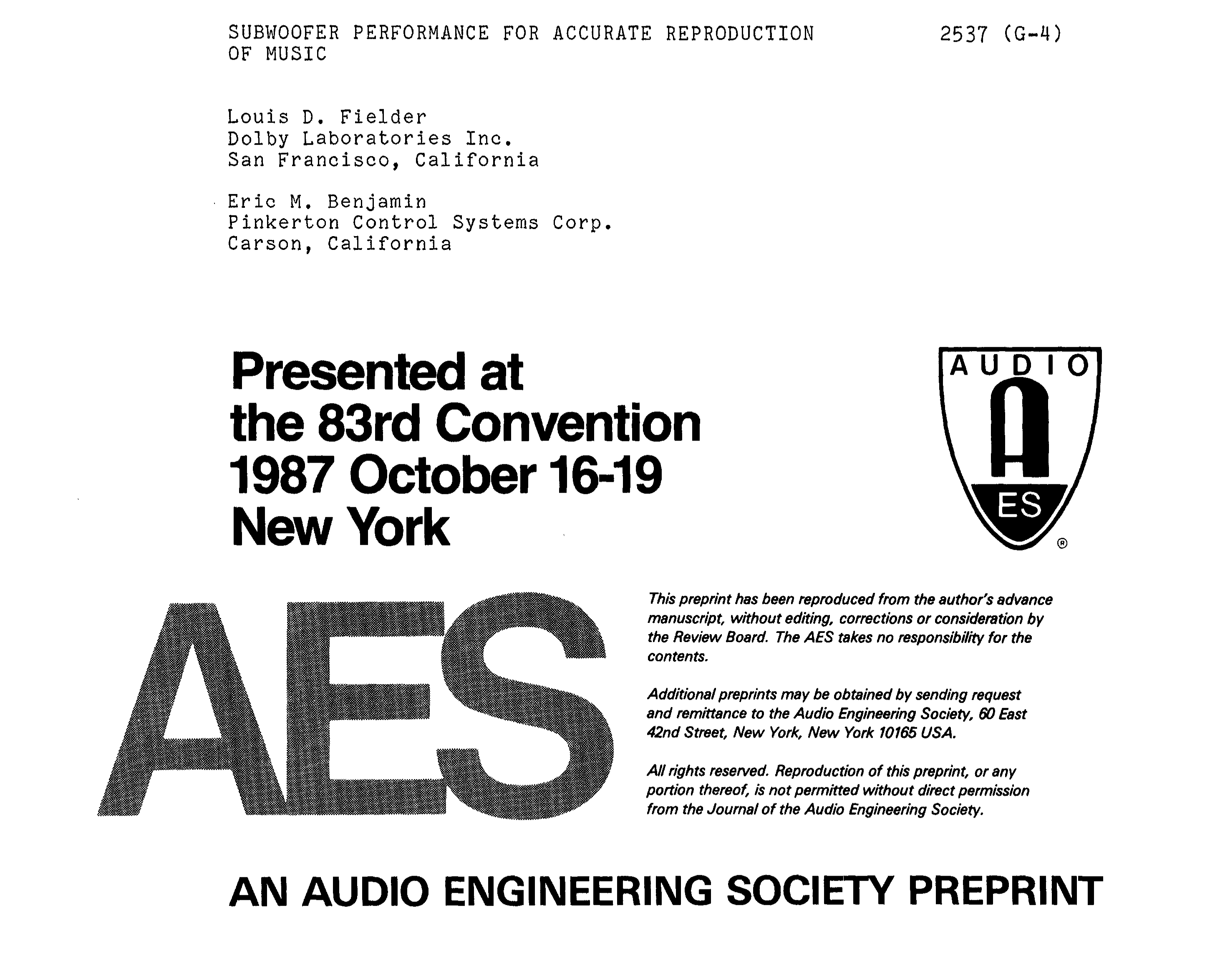 Aes E Library Subwoofer Performance For Accurate Reproduction Of Music Midrange Coustic Ca Sp 300 Mid