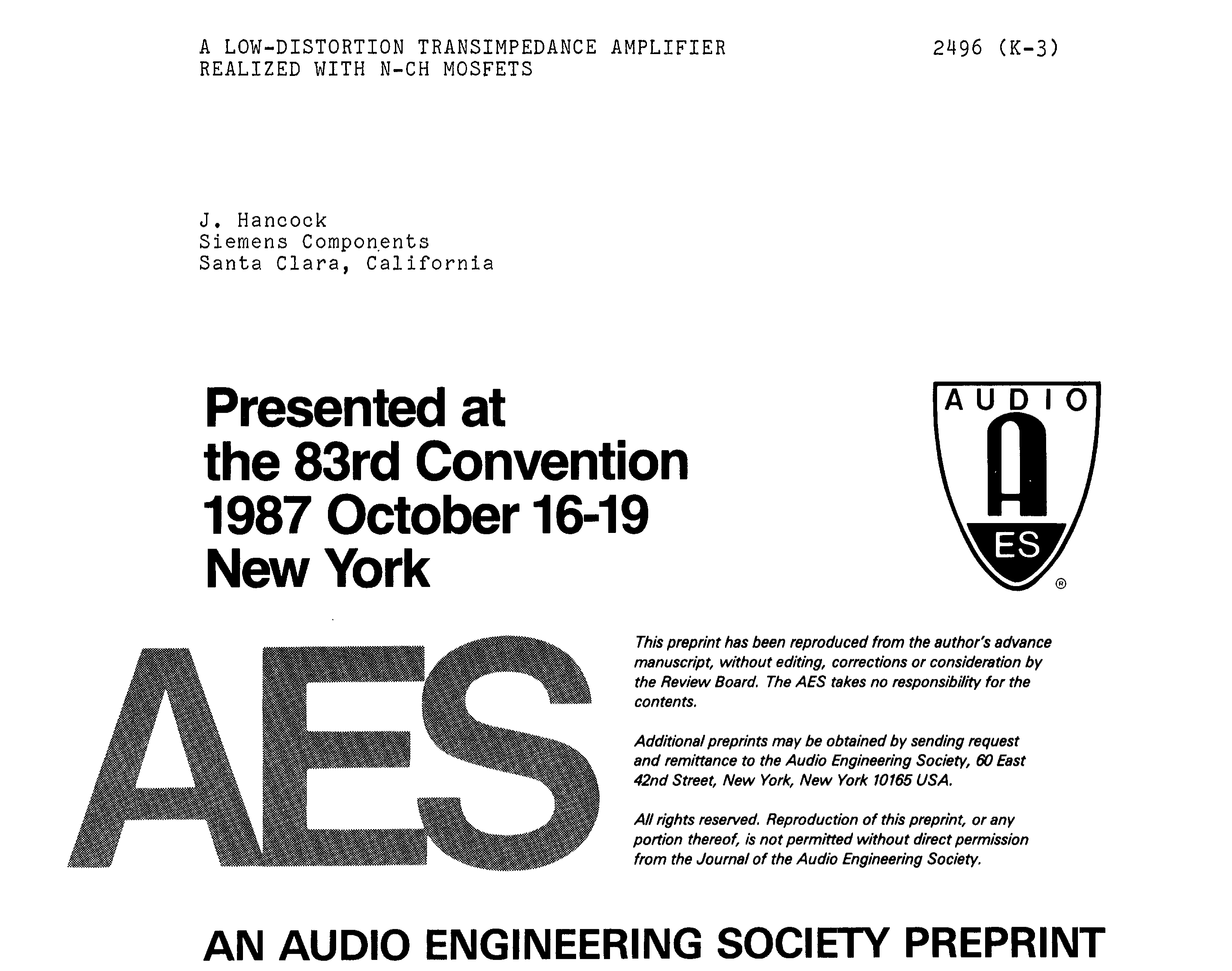 aes e library a low distortion transimpedance amplifier realizedaes e library