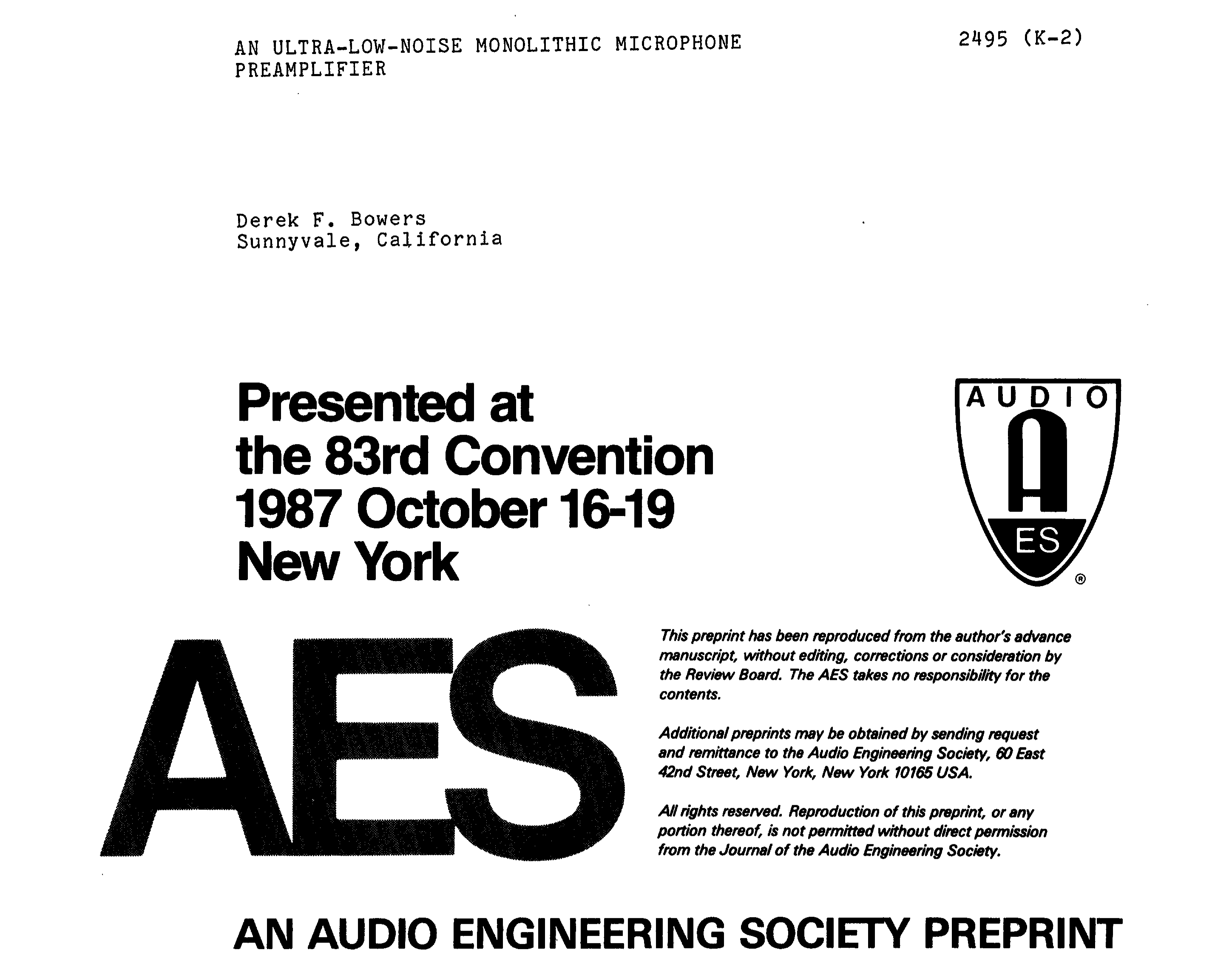 Aes E Library An Ultra Low Noise Monolithic Microphone Preamplifier Dynamic Amplifier Using Transistors