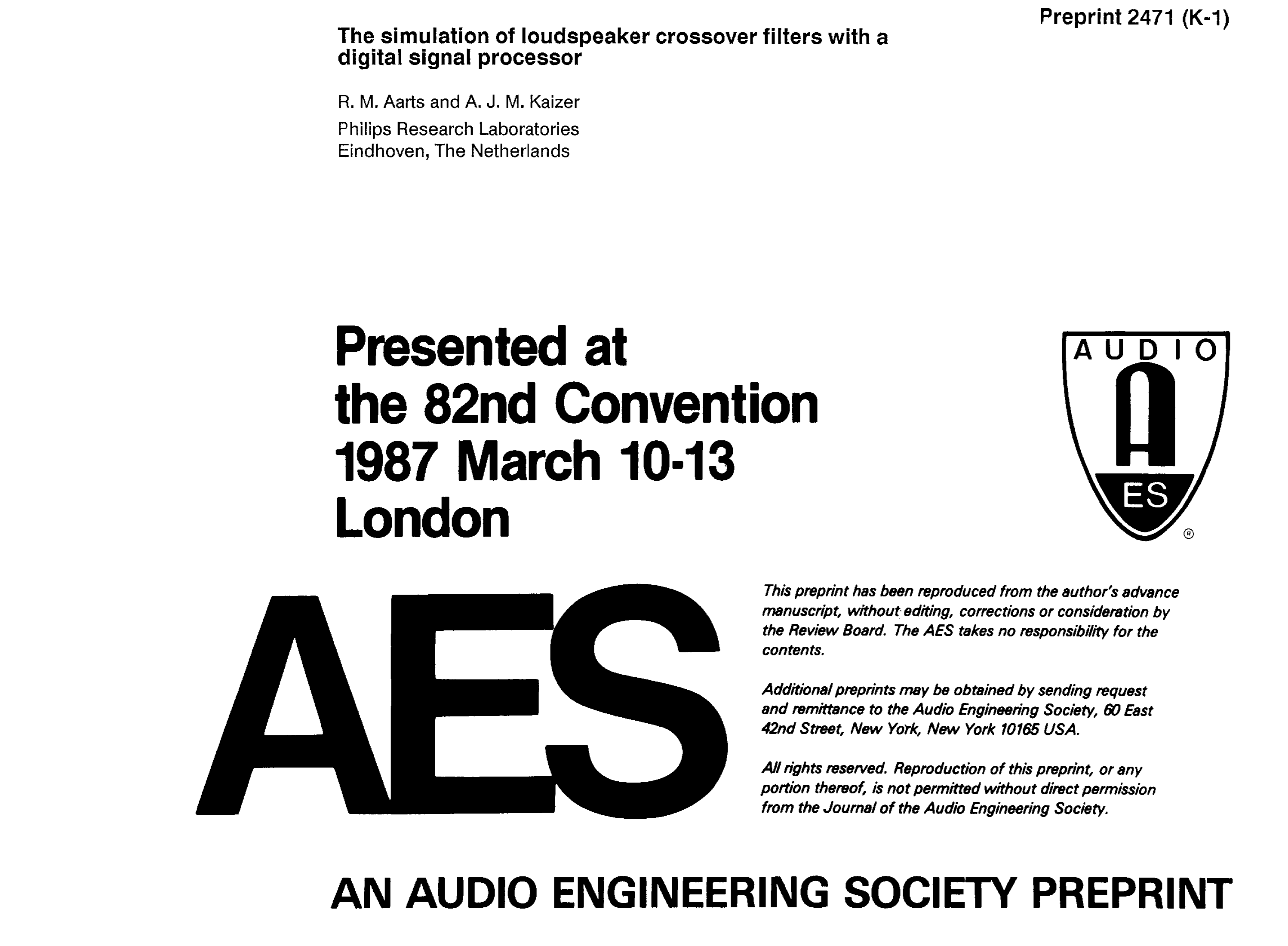 Aes E Library The Simulation Of Loudspeaker Crossover Filters With Circuit Was Designed For Purpose Creating An Active A Digital Signal Processor
