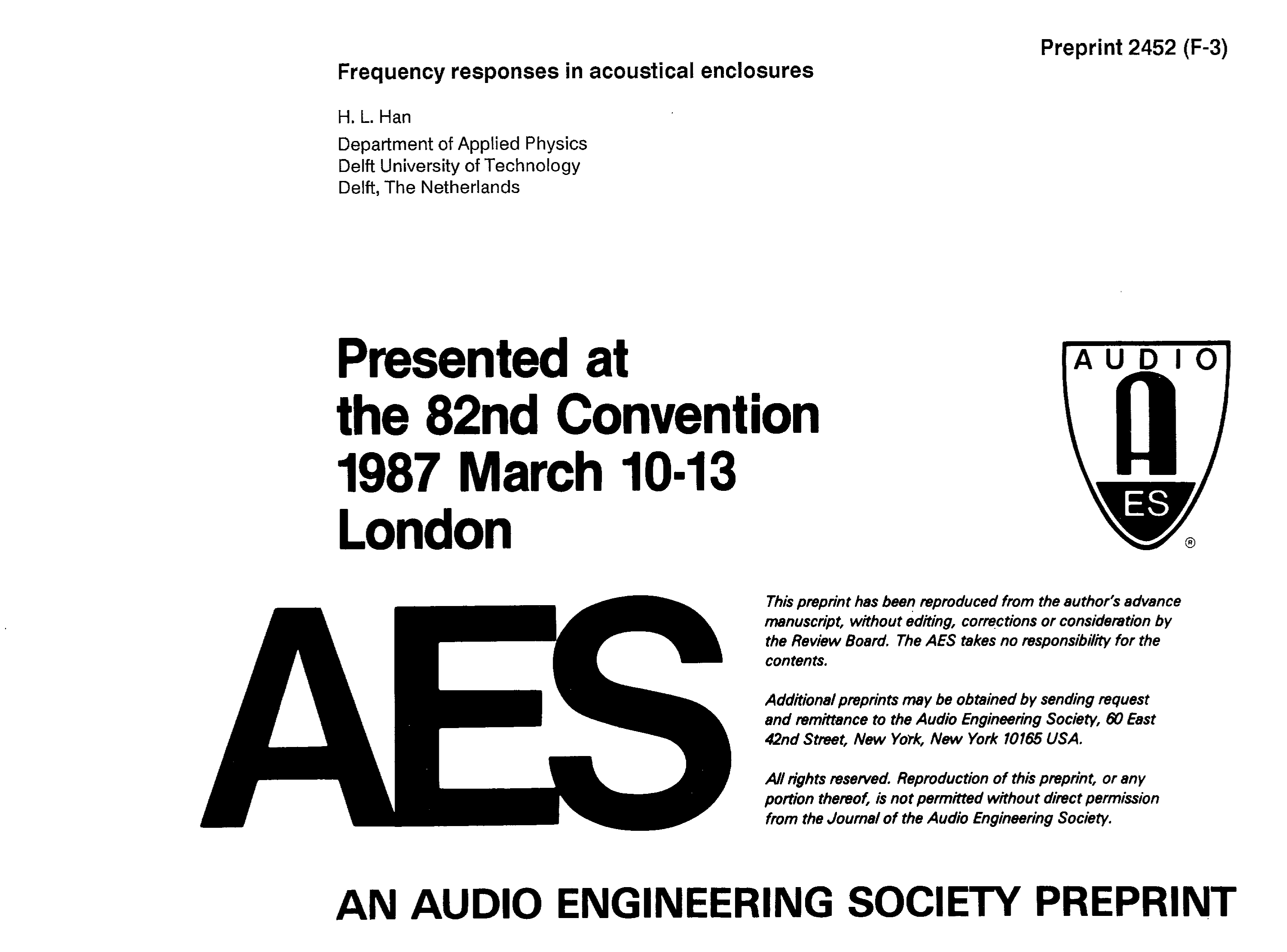 Aes E Library Frequency Responses In Acoustical Enclosures