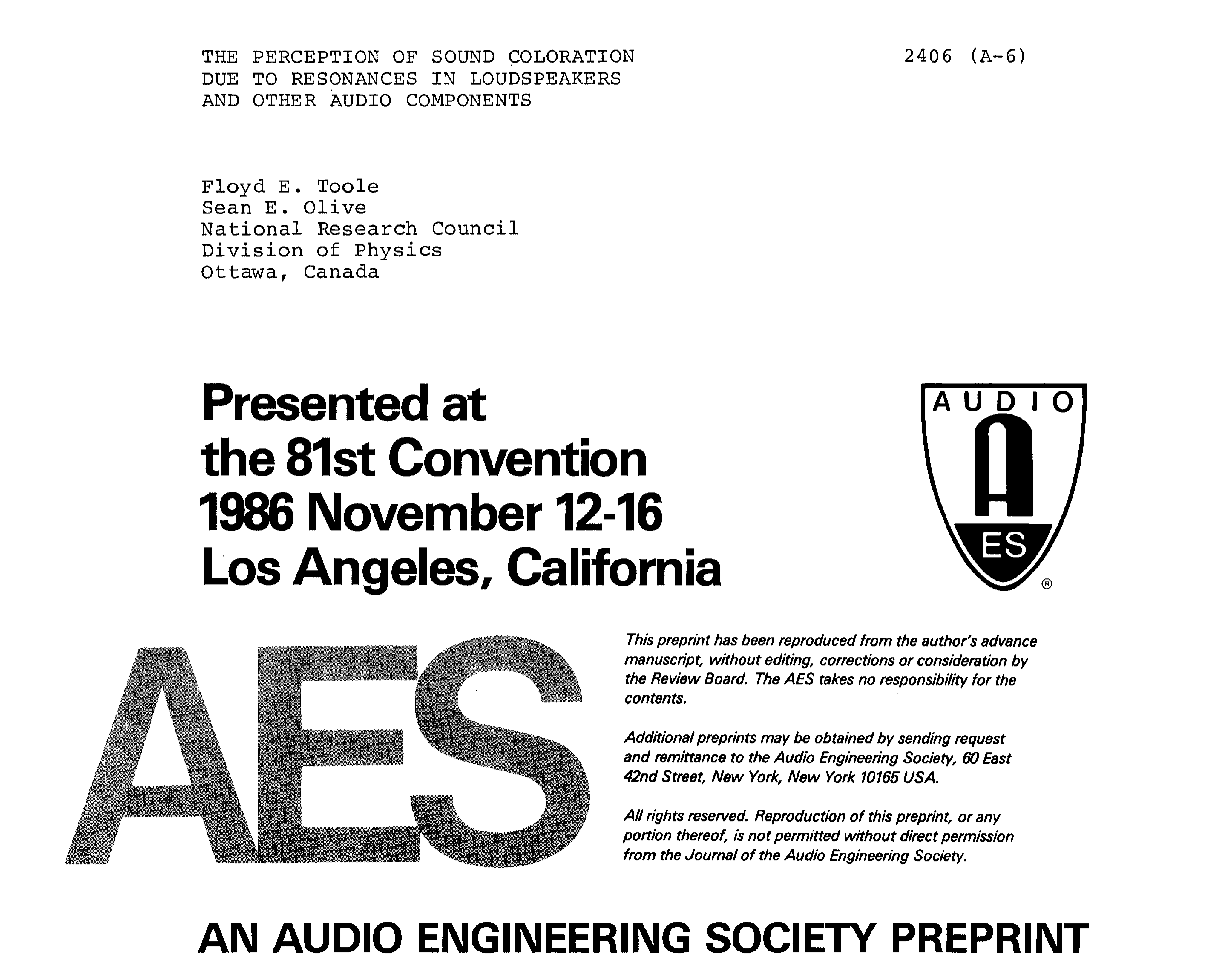 Aes E Library The Perception Of Sound Coloration Due To Resonances Low Distortion Audio Range Oscillator In Loudspeakers And Other Components