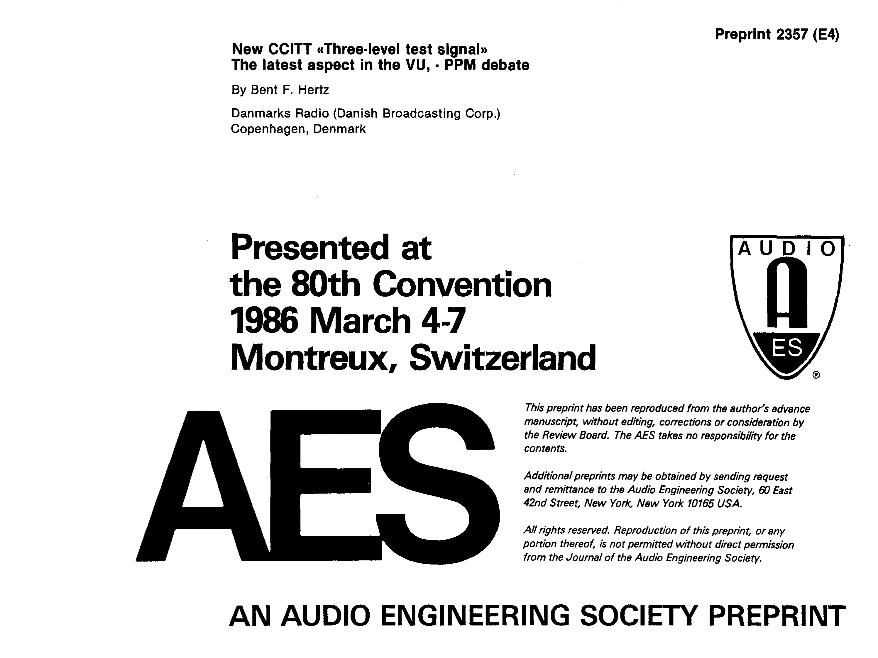Aes E Library New Ccitt Three Level Test Signal The Latest Threelevel Audio Power Indicator Electronics Circuits For You Aspect In Vu Ppm Debate