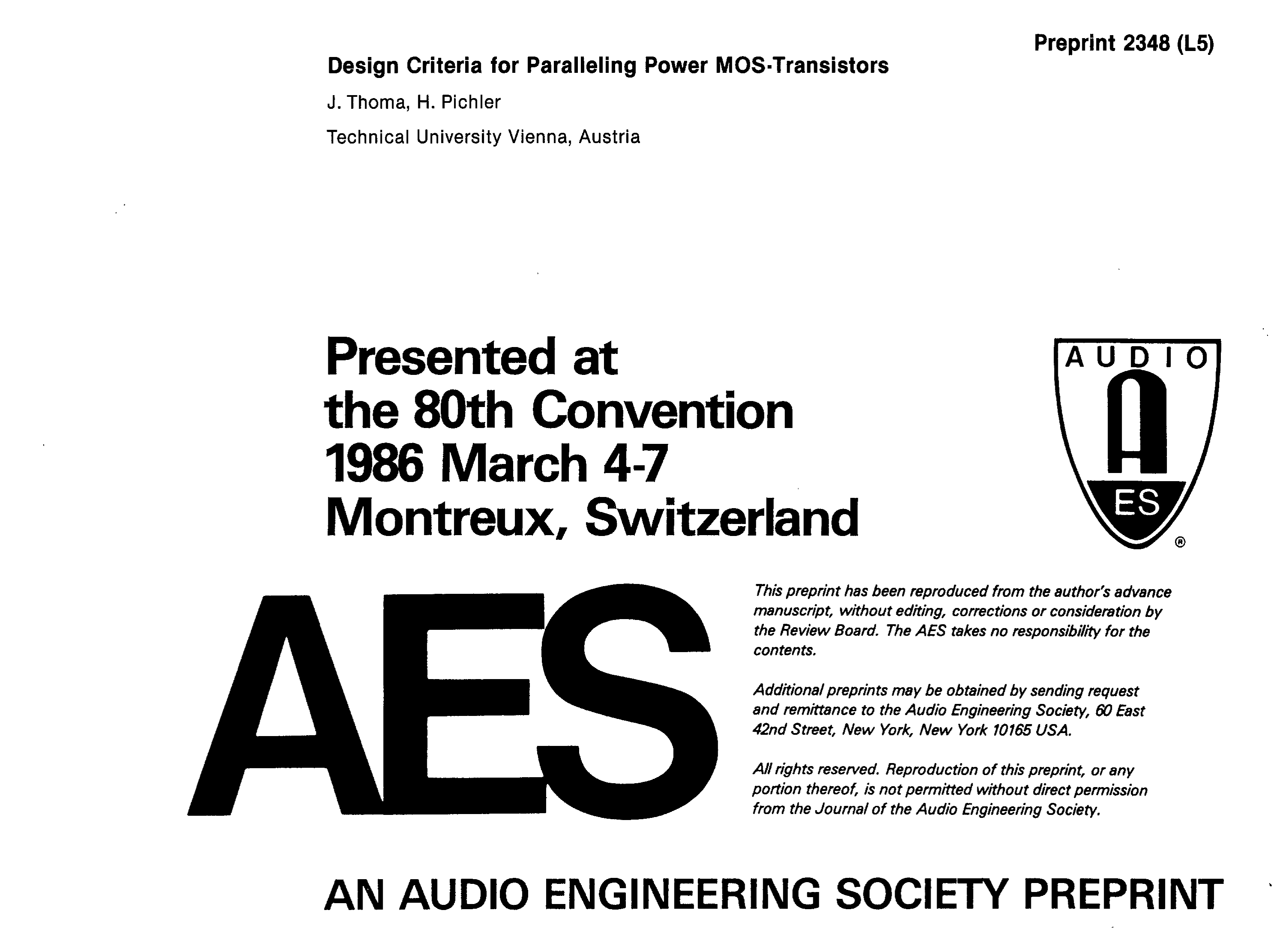 Aes E Library Design Criteria For Paralleling Power Mos Transistors Fet Overload Current Trip
