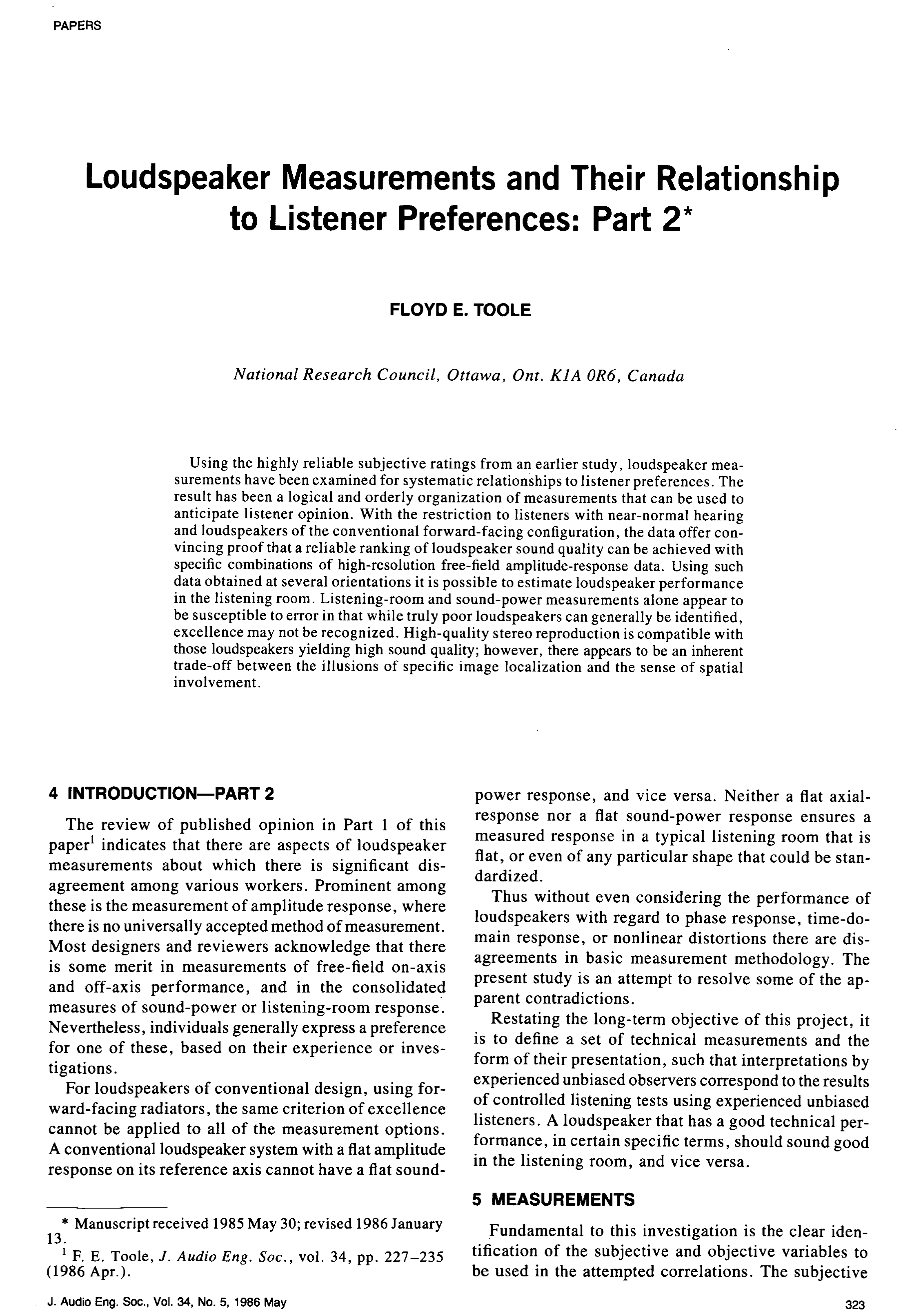 AES E-Library » Loudspeaker Measurements and Their