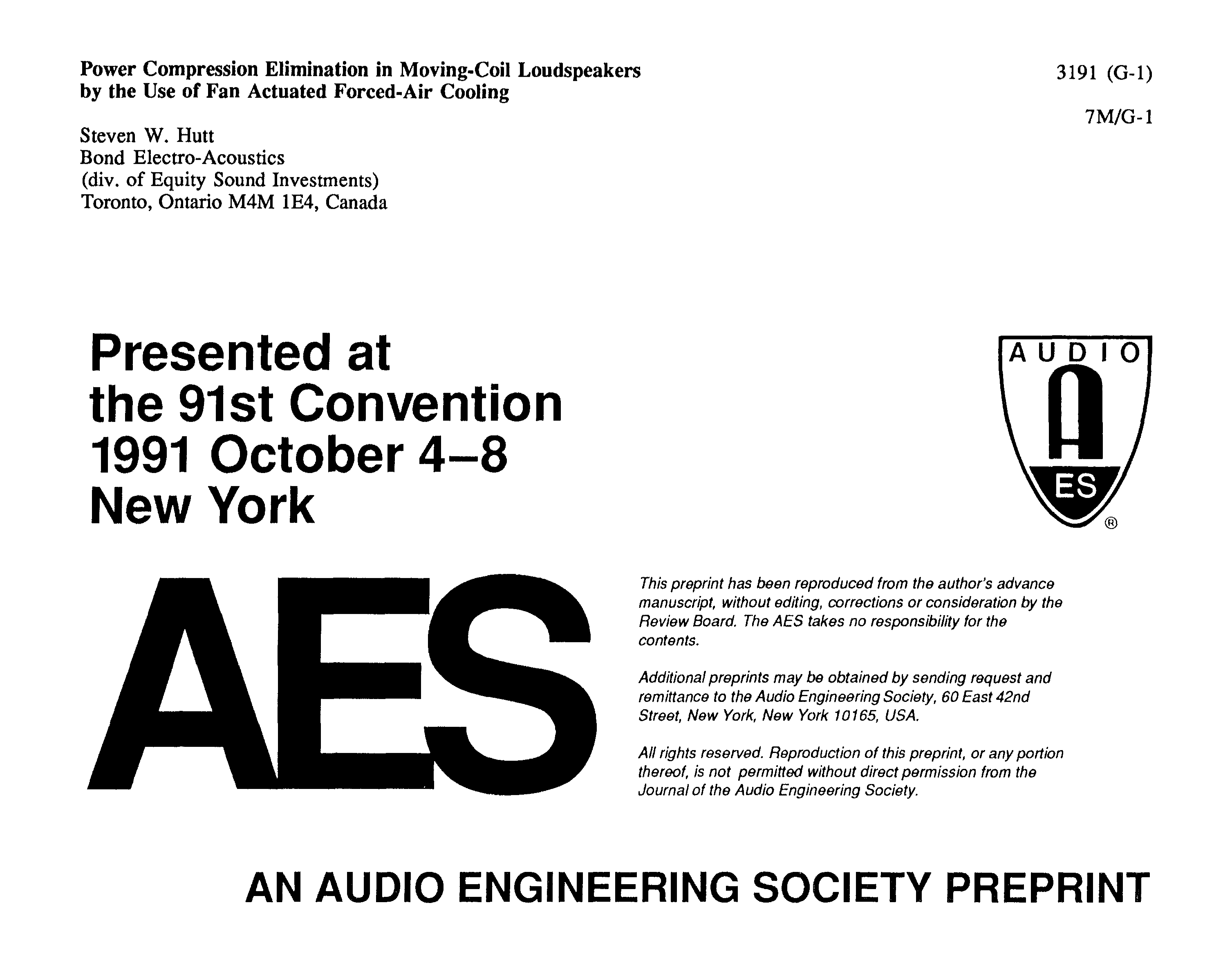 Aes E Library Power Compression Elimination In Moving Coil Circuit Compact Without Generating Heat As Capacitor C1 Dissipates Loudspeakers By The Use Of Fan Actuated Forced Air Cooling