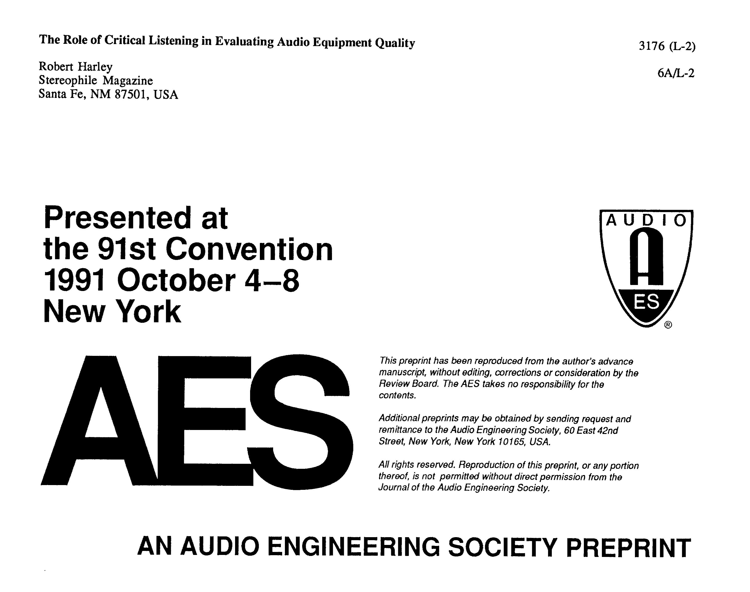 AES E-Library » The Role of Critical Listening in Evaluating Audio