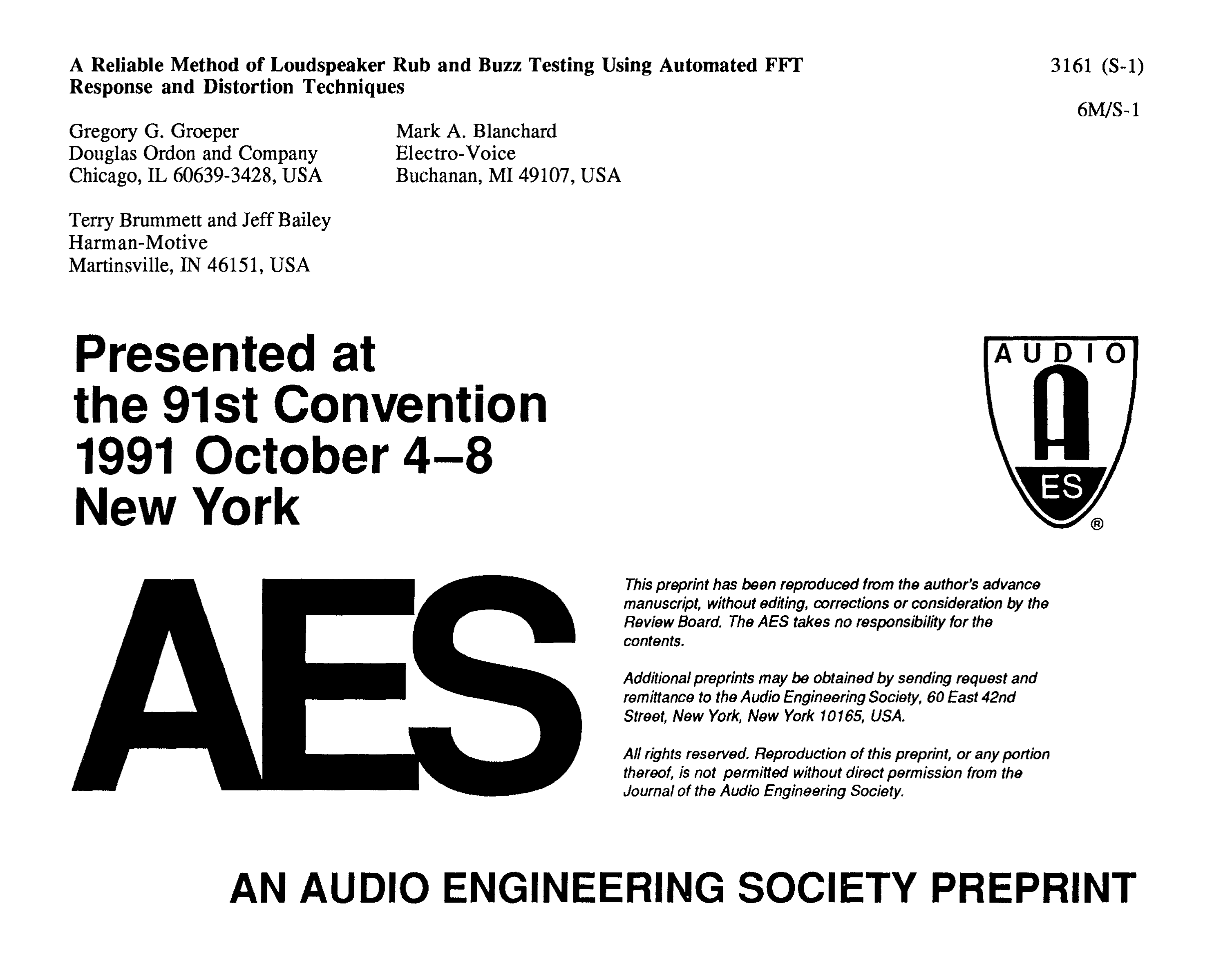 Aes E Library A Reliable Method Of Loudspeaker Rub And Buzz Advent Speaker Crossover Schematic Diagrams Testing Using Automated Fft Response Distortion Techniques