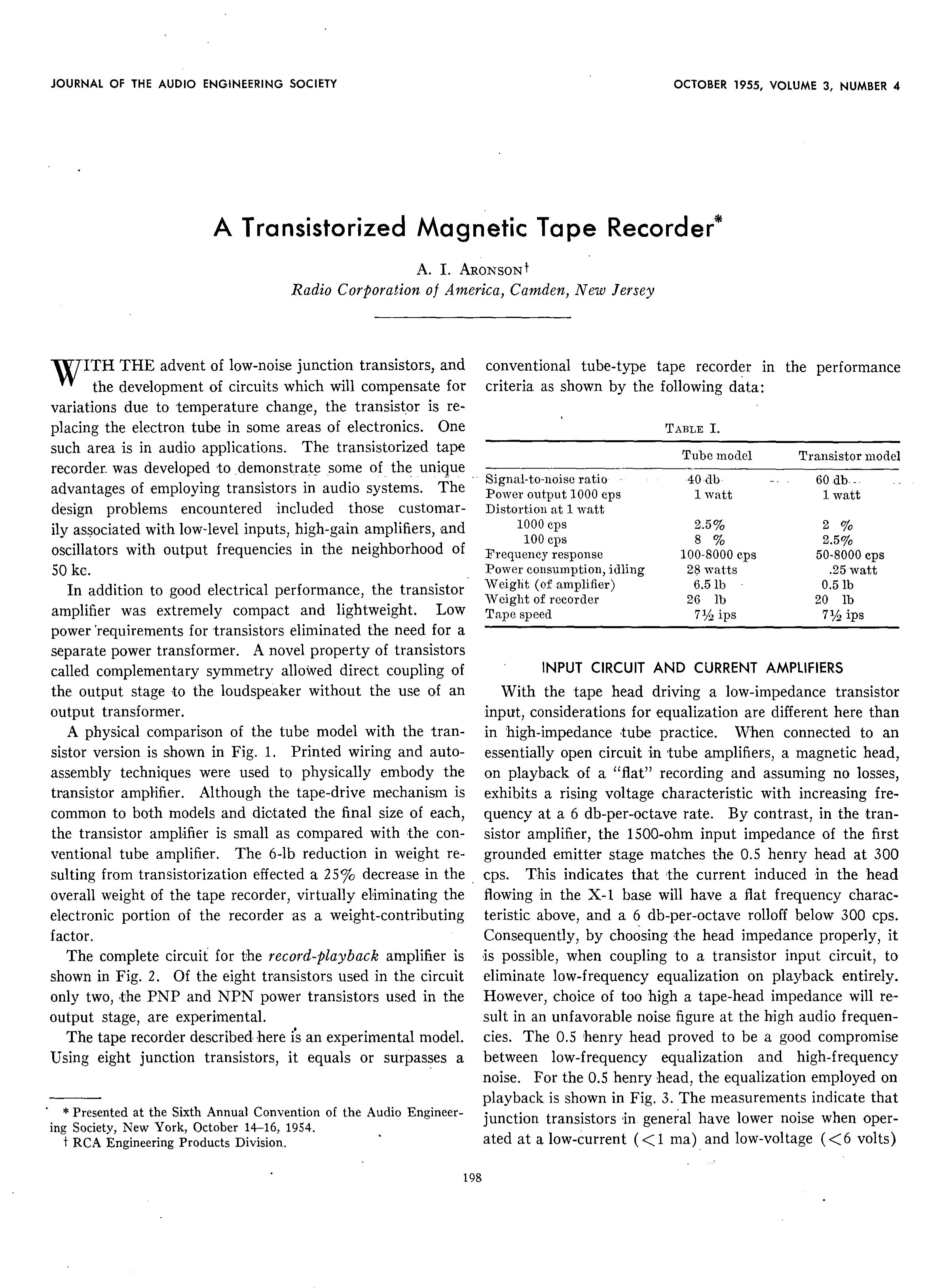 Aes E Library A Transistorized Tape Recorder Tuned Collector Oscillator