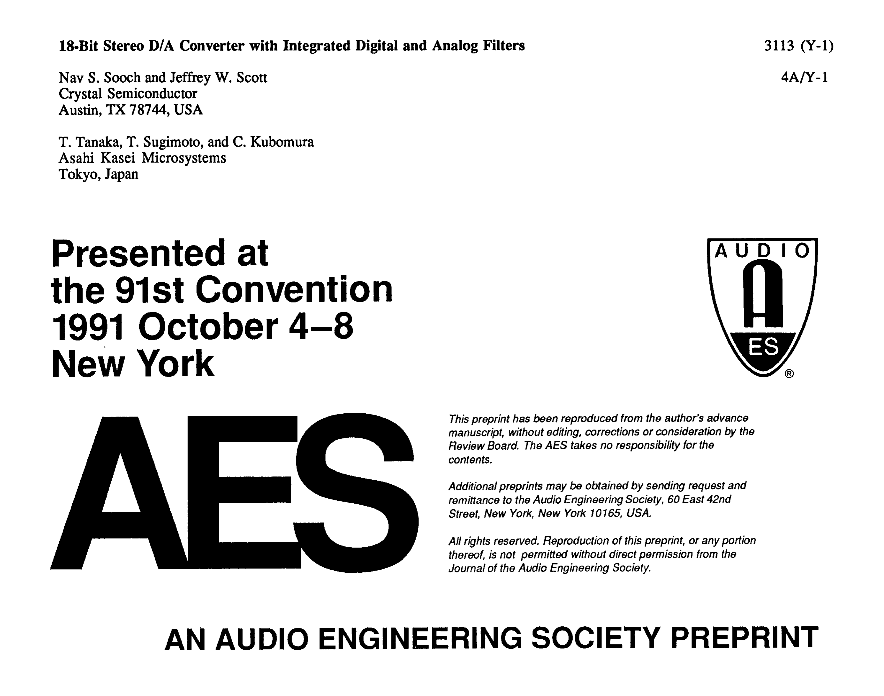 AES E-Library » 18-Bit Stereo D/A Converter with Integrated