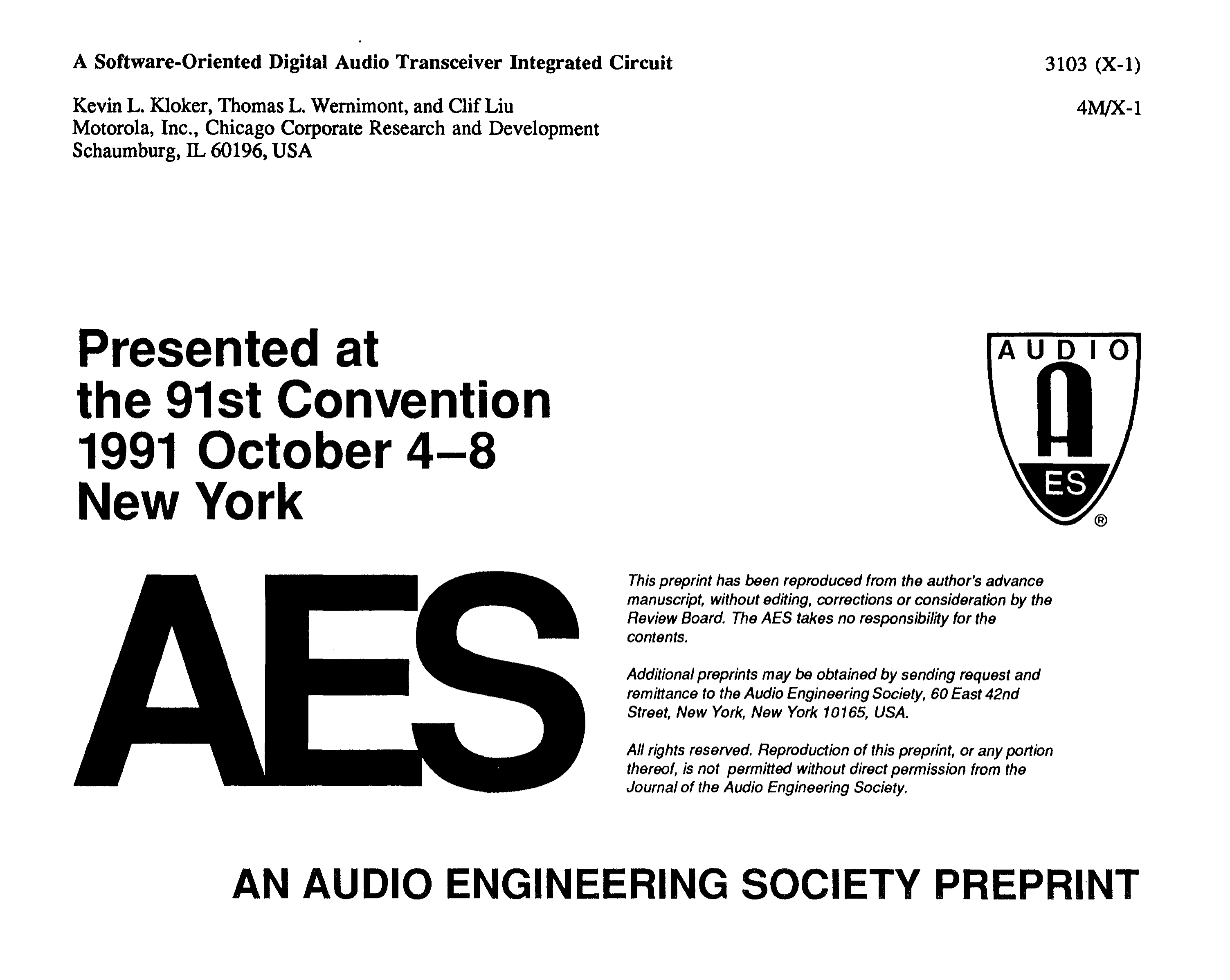 AES E-Library » A Software-Oriented Digital Audio