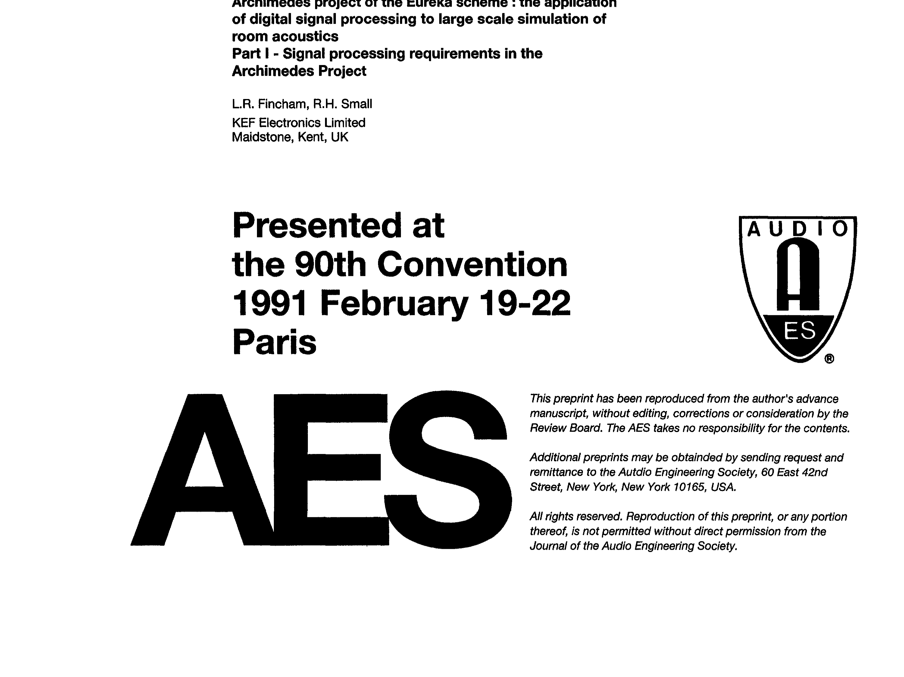 AES E-Library » The Application of Digital Signal Processing