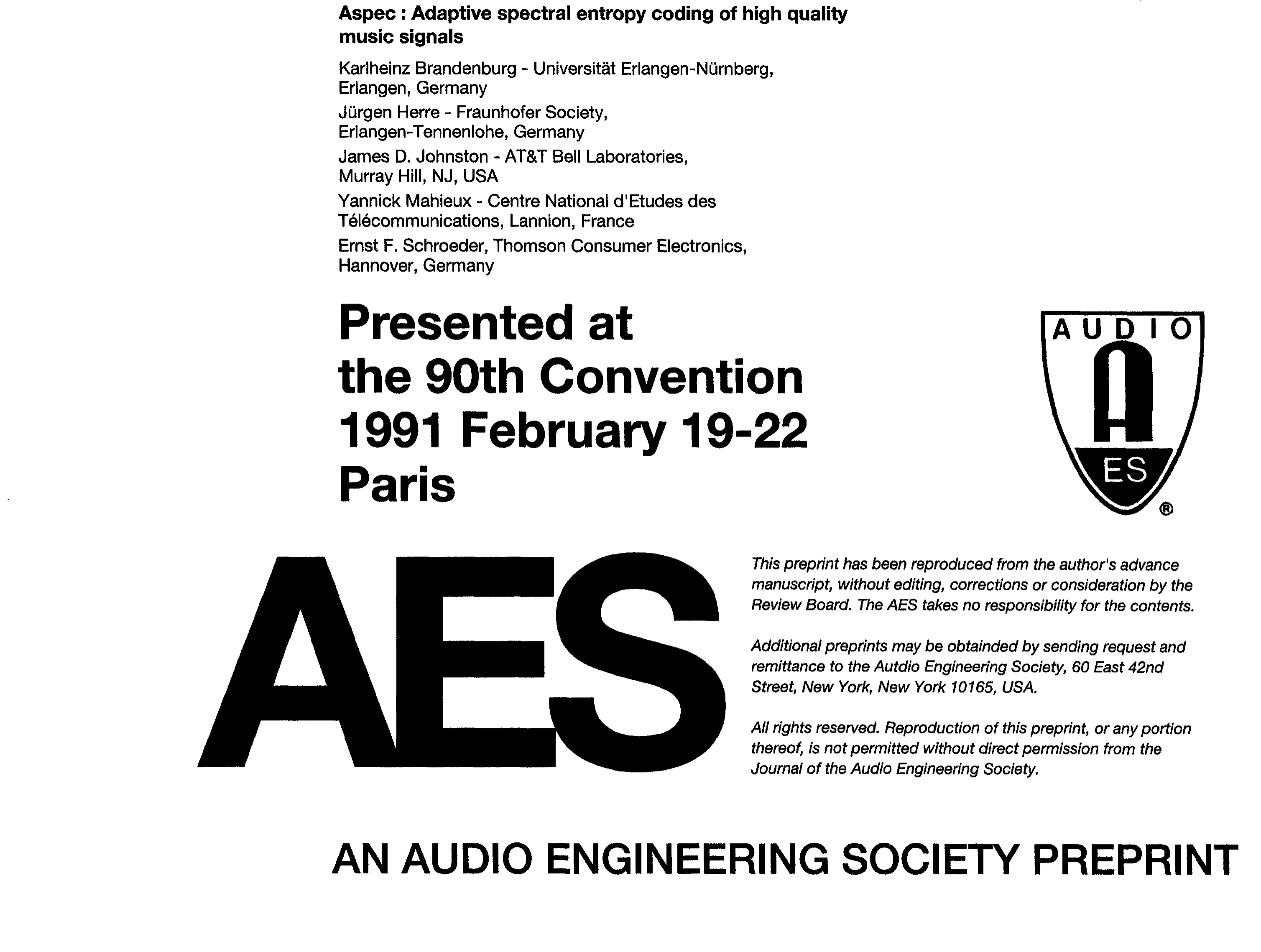 Aes e library aspec adaptive spectral entropy coding of high aes e library aspec adaptive spectral entropy coding of high quality music signals malvernweather Image collections
