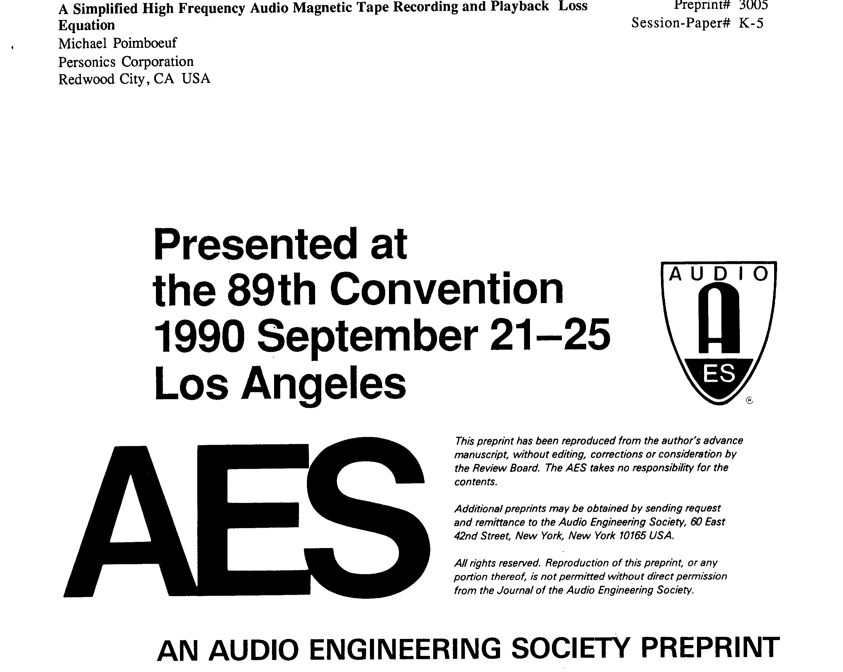 aes e library a a simplified high frequency audio magnetic tape