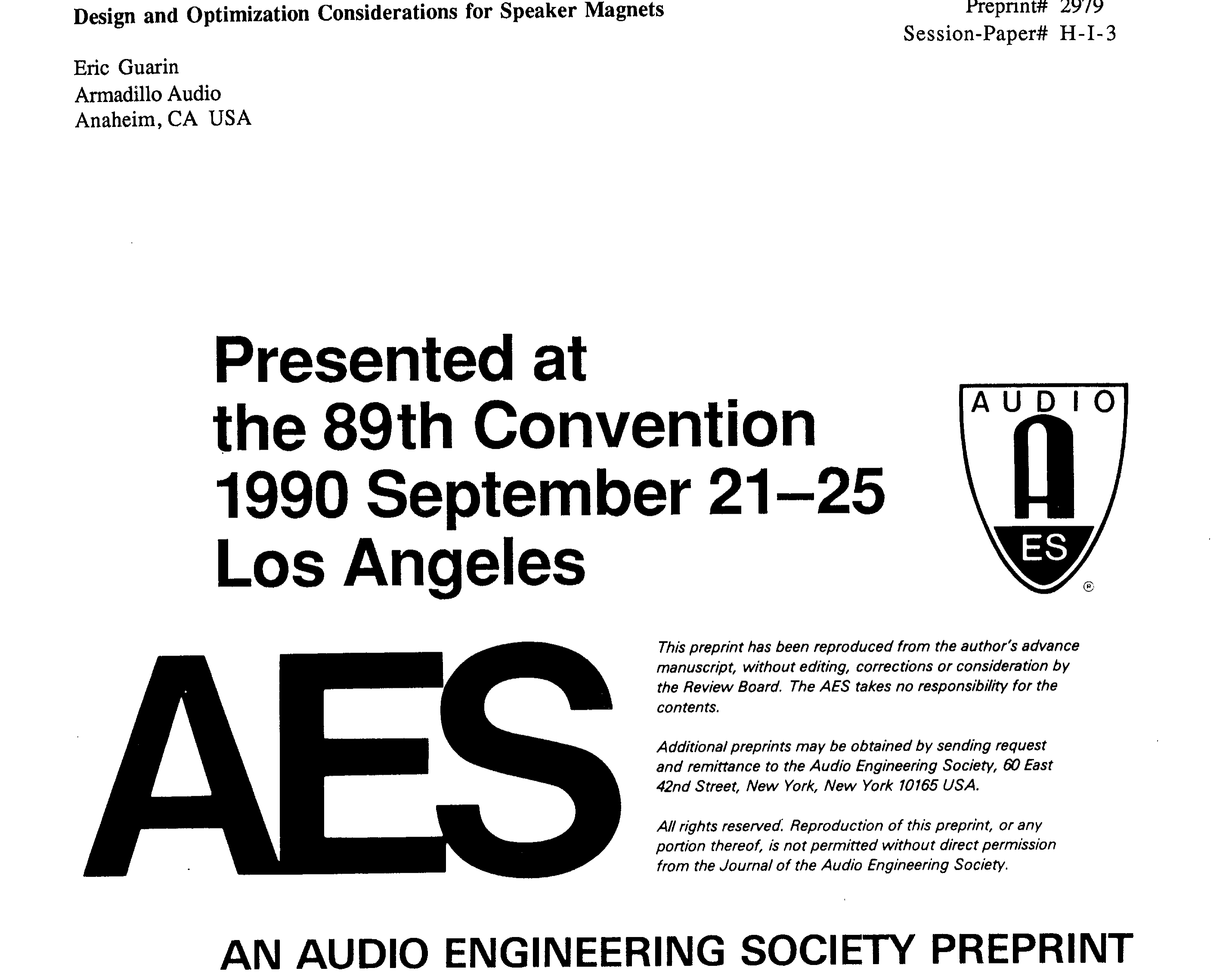Aes E Library Design And Optimization Considerations For Speaker 1975 Mercury 850 Wiring Diagram Magnets
