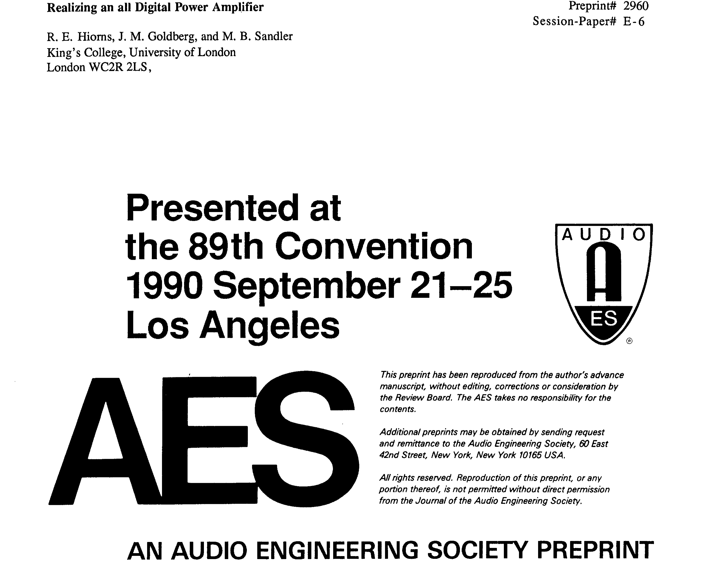 Aes E Library Realizing An All Digital Power Amplifier Cisco 2960 S Diagram And Catalyst Switches Comparison