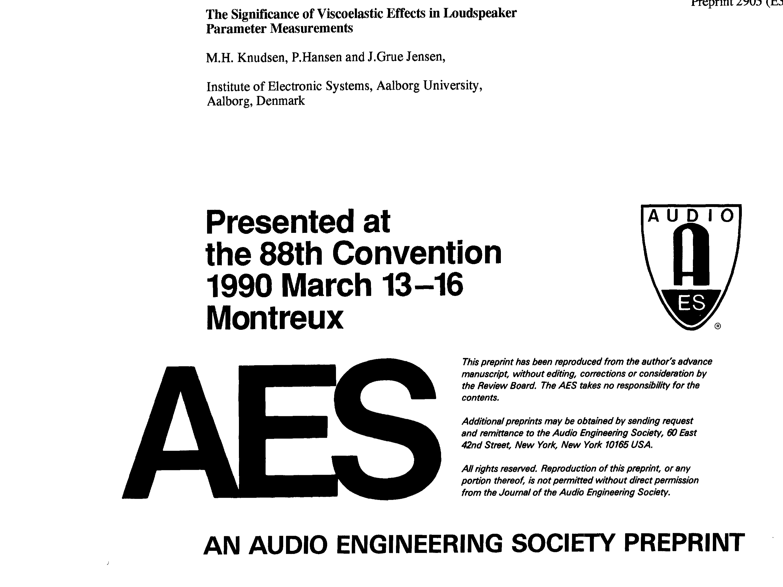 AES E-Library » The Significance of Viscoelastic Effects in