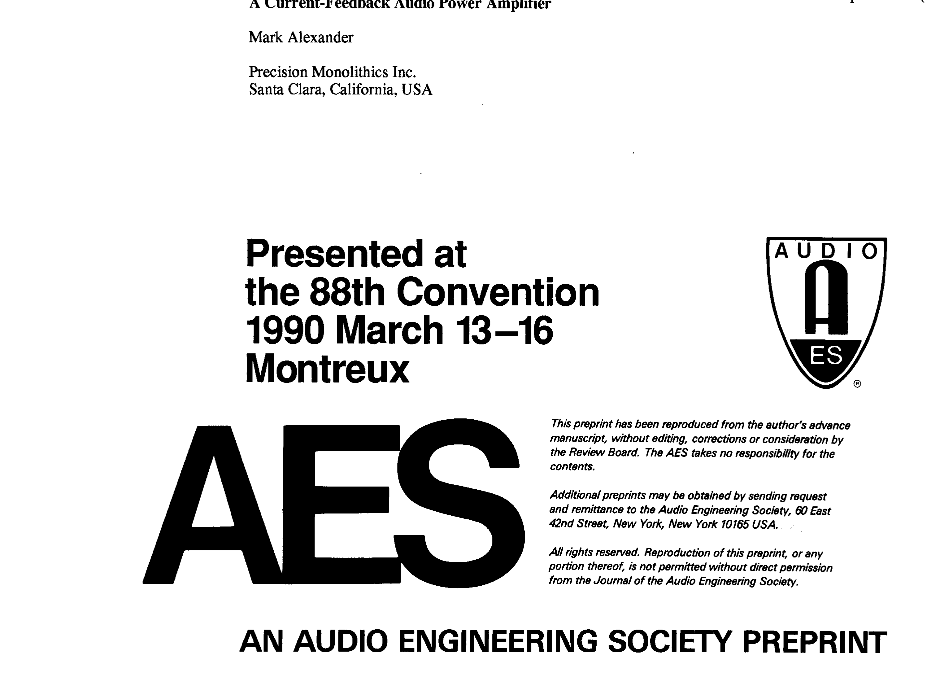 Aes E Library A Current Feedback Audio Power Amplifier 60w Transistored Circuit