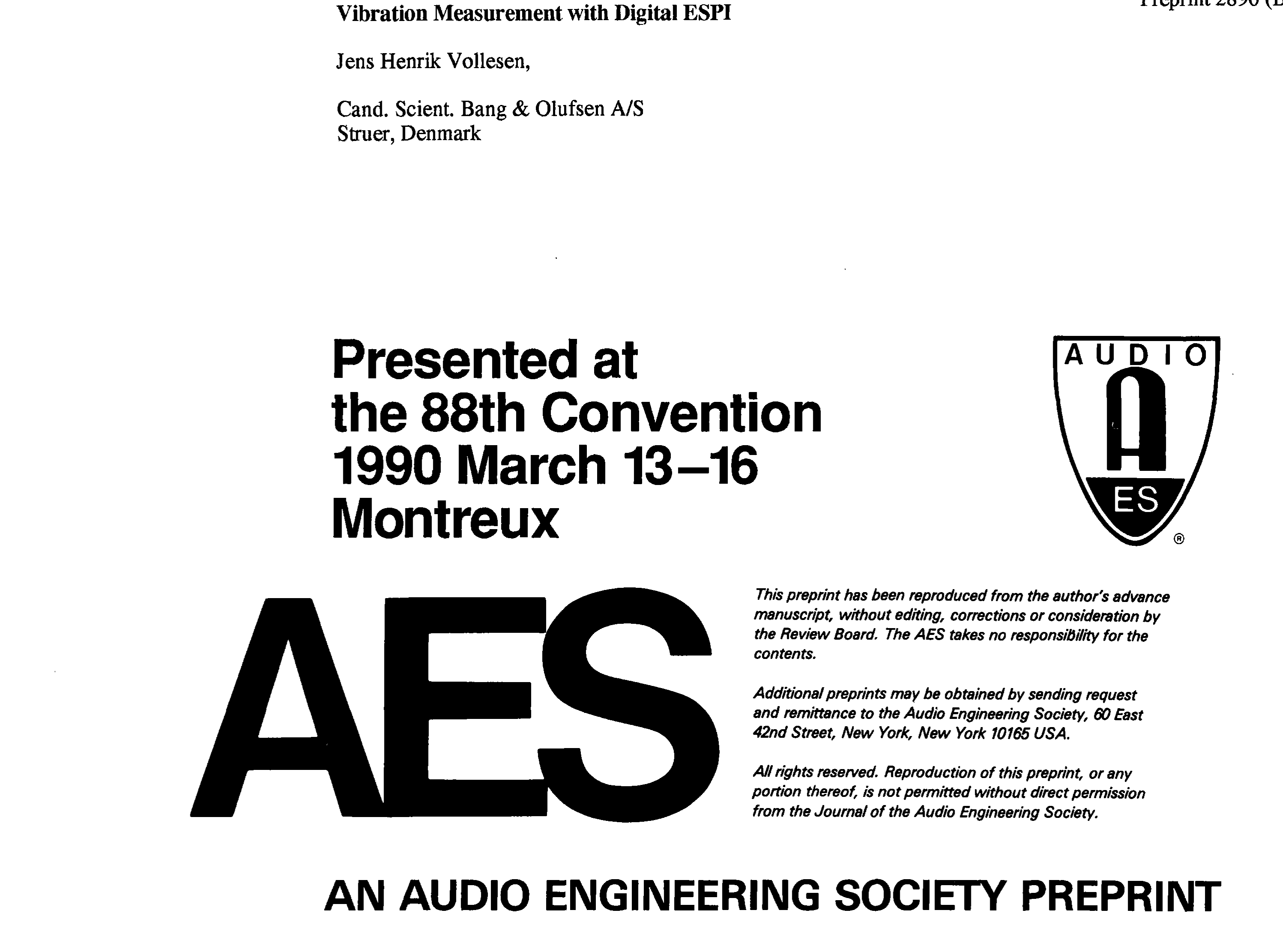 AES E Library Vibration Measurement with Digital ESPI