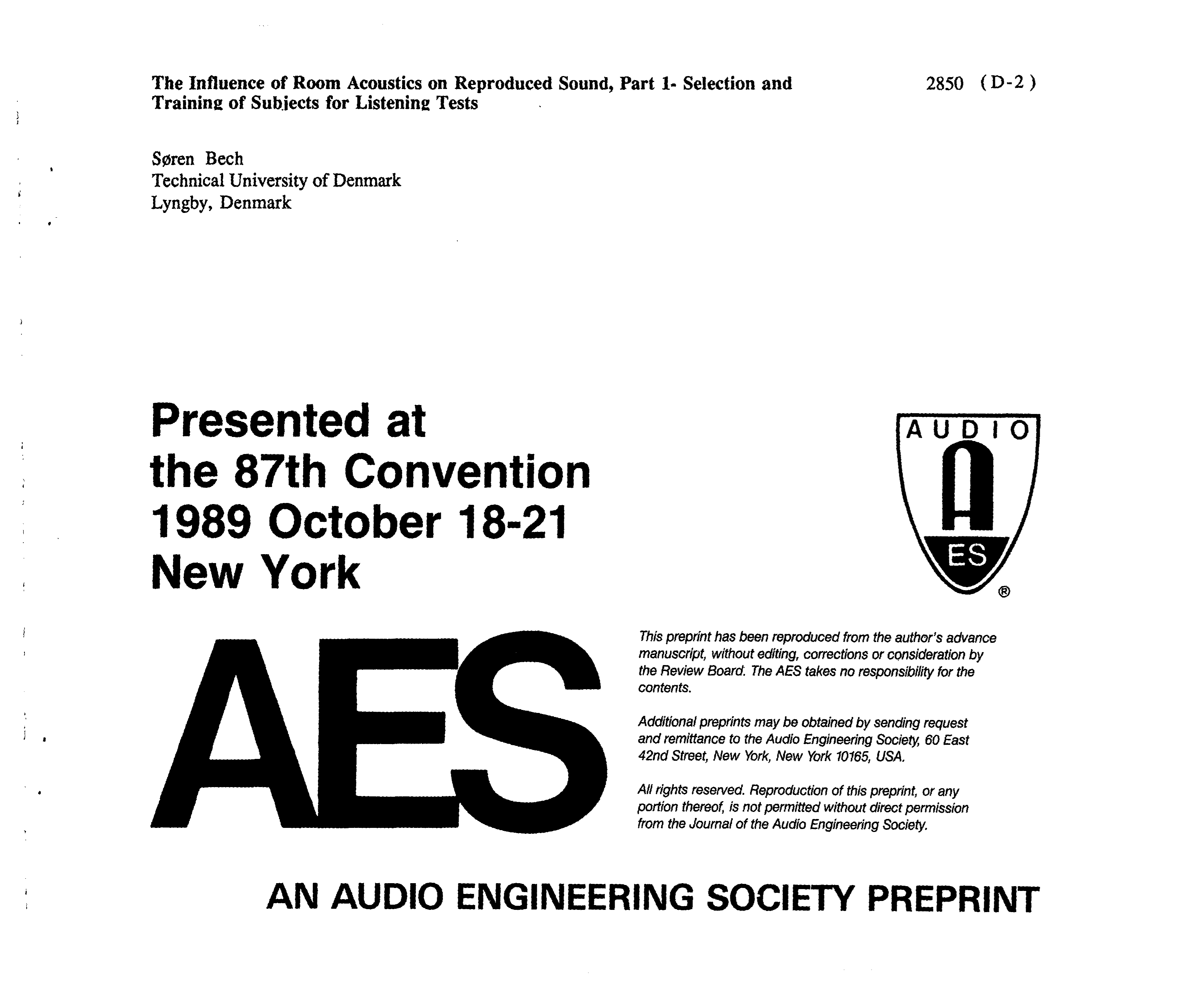 Aes E Library The Influence Of Room Acoustics On Reproduced Sound Indicate Power To Board Mode Selection In Following Order Part 1 And Training Subjects For Listening Tests