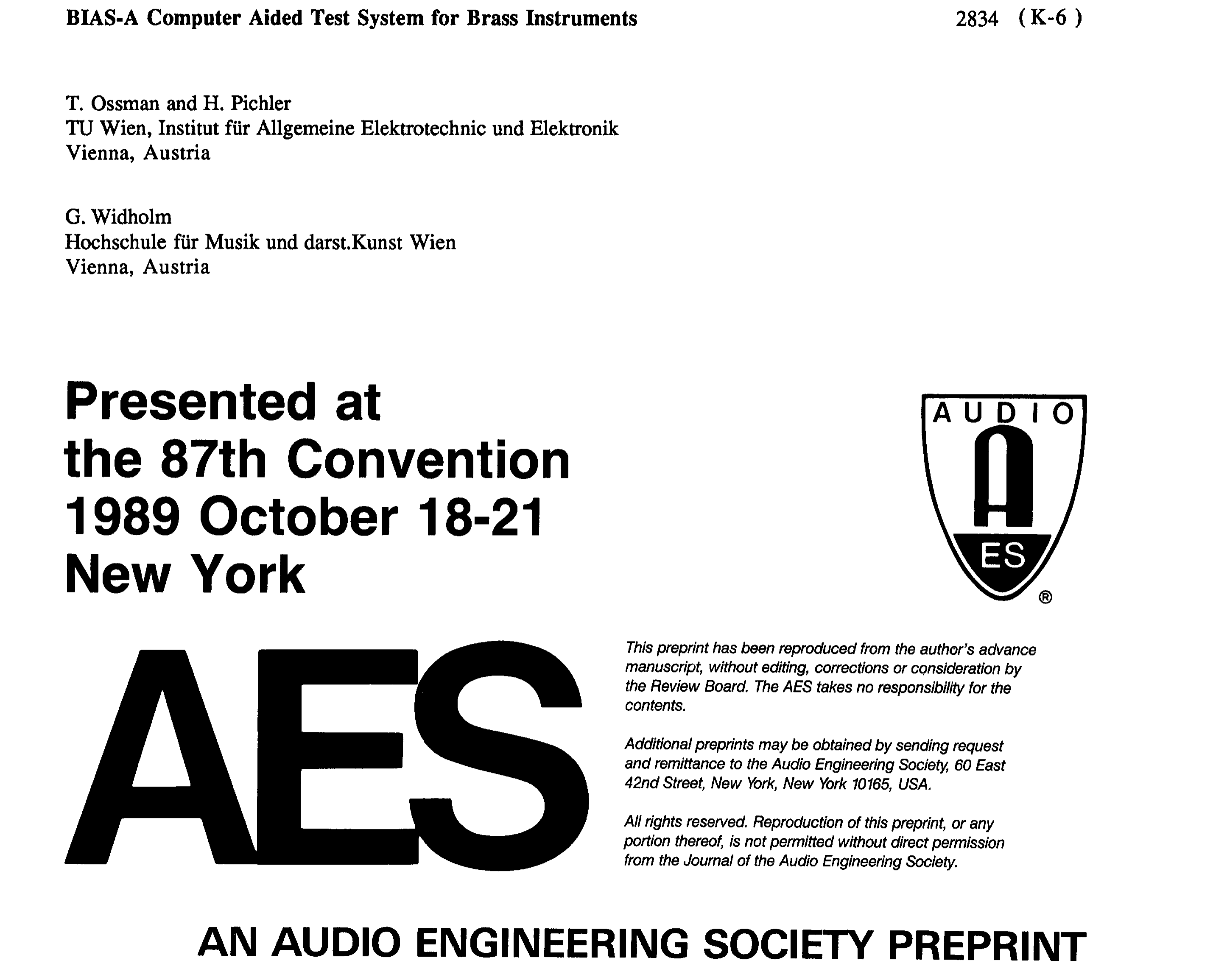 Aes E Library Bias A Computer Aided Test System For Brass Wind Voice Control Circuit Scr Music Sound Instruments