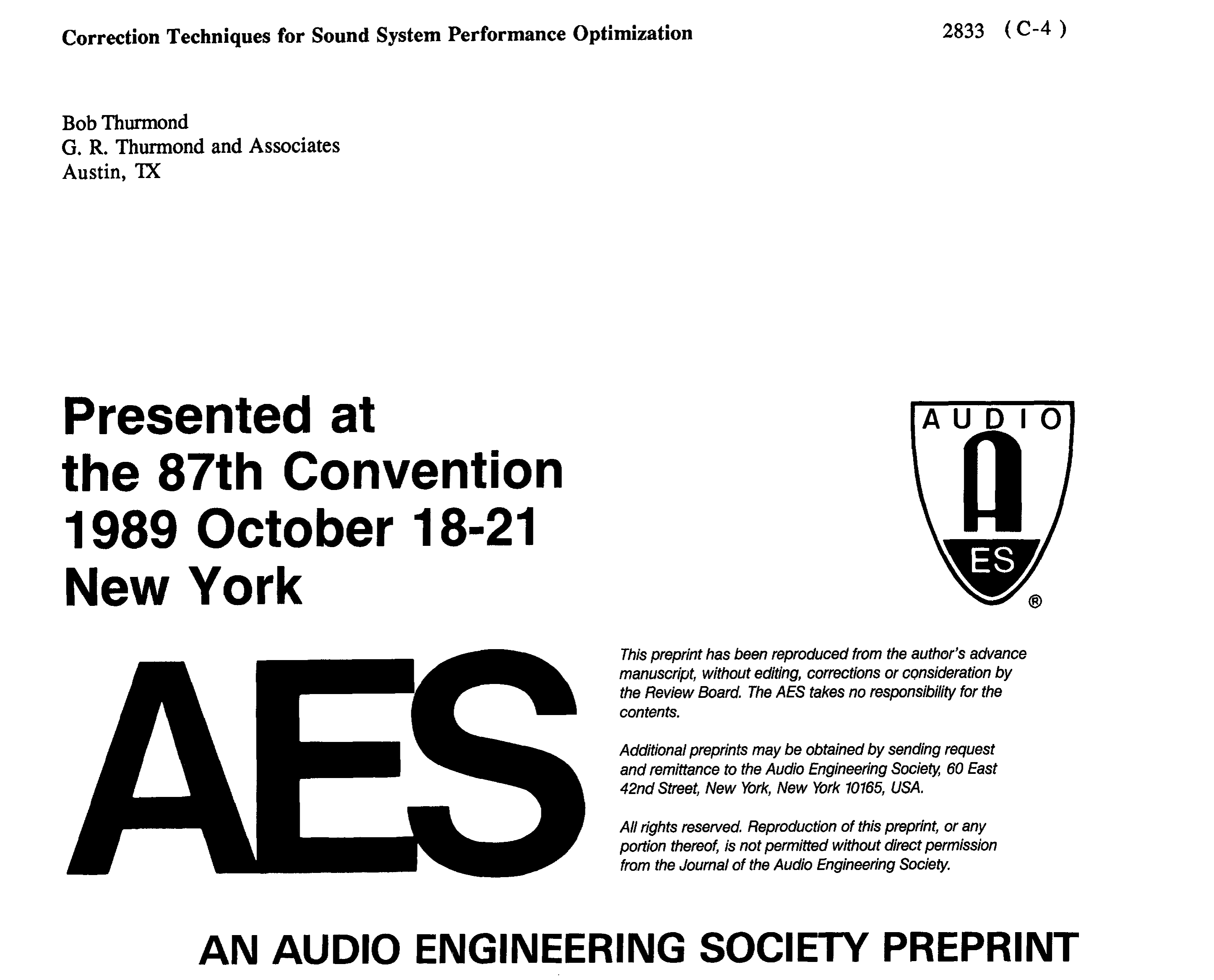 Aes E Library Correction Techniques For Sound System Performance Three Way Switch Miswired Optimization